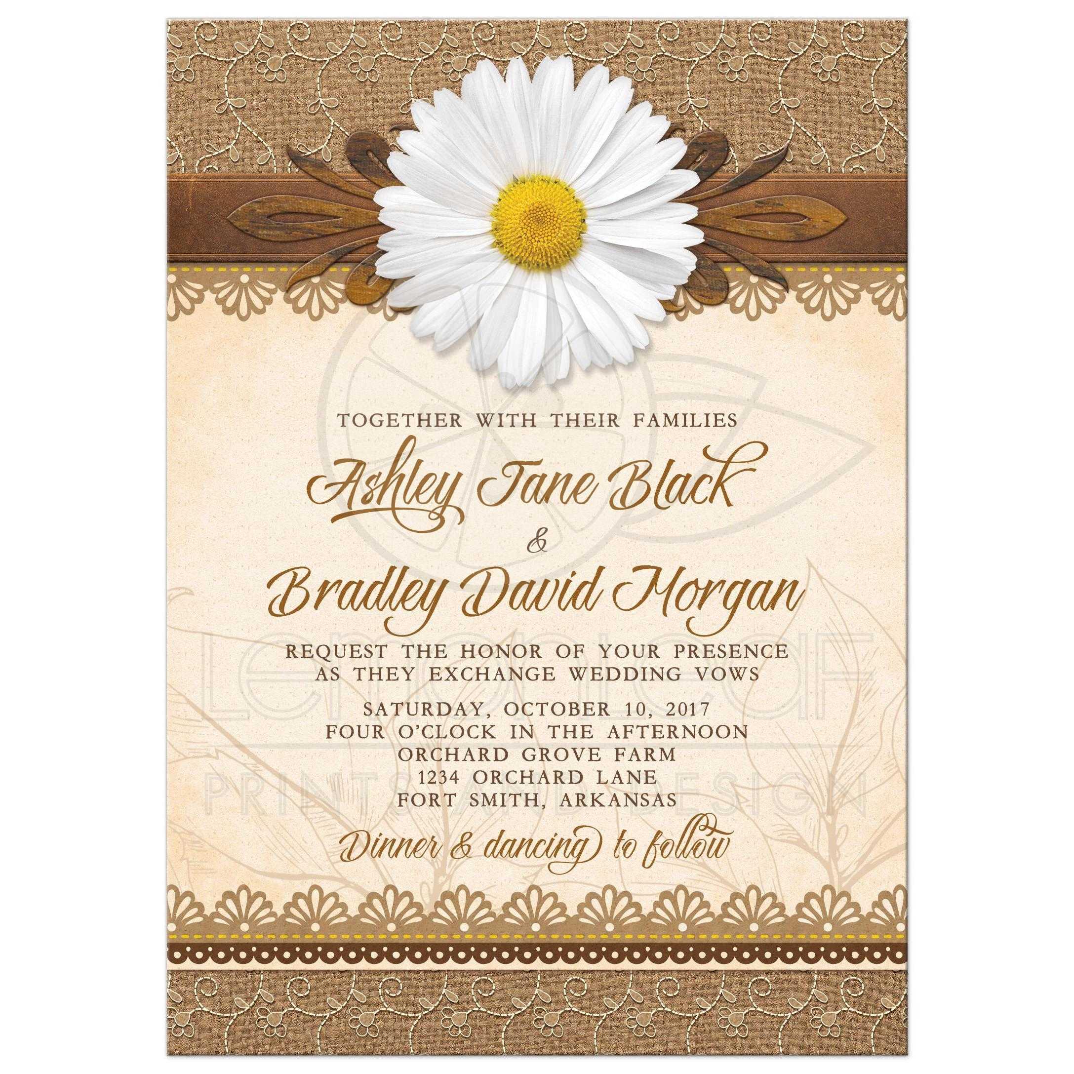 Rustic Daisy Wedding Invitation Burlap Lace Wood