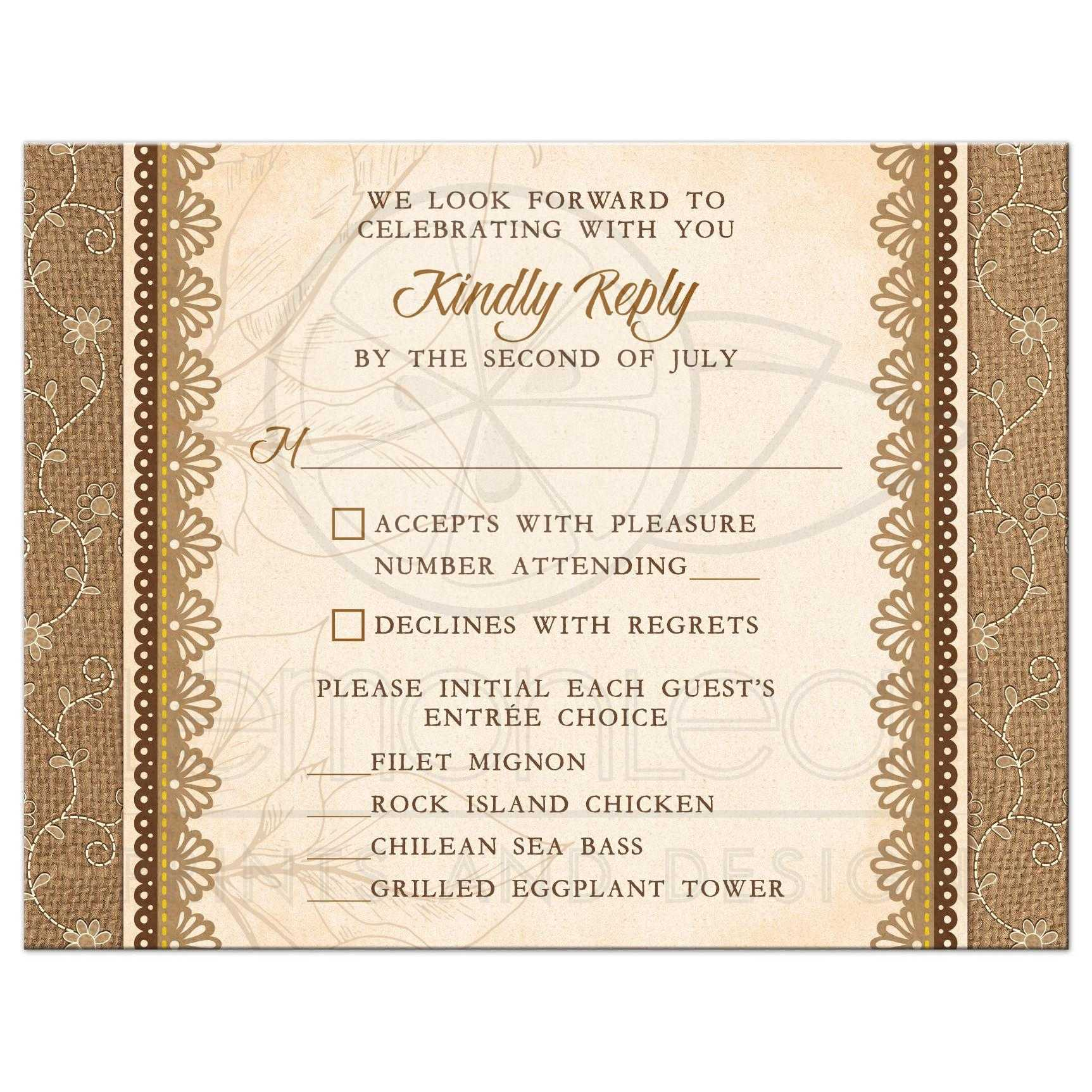 Rustic Burlap Lace Wedding Meal Choice Reply Card