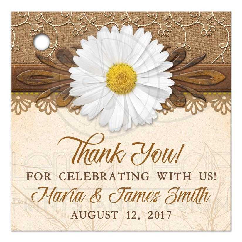 rustic daisy personalized wedding favor tags burlap lace wood