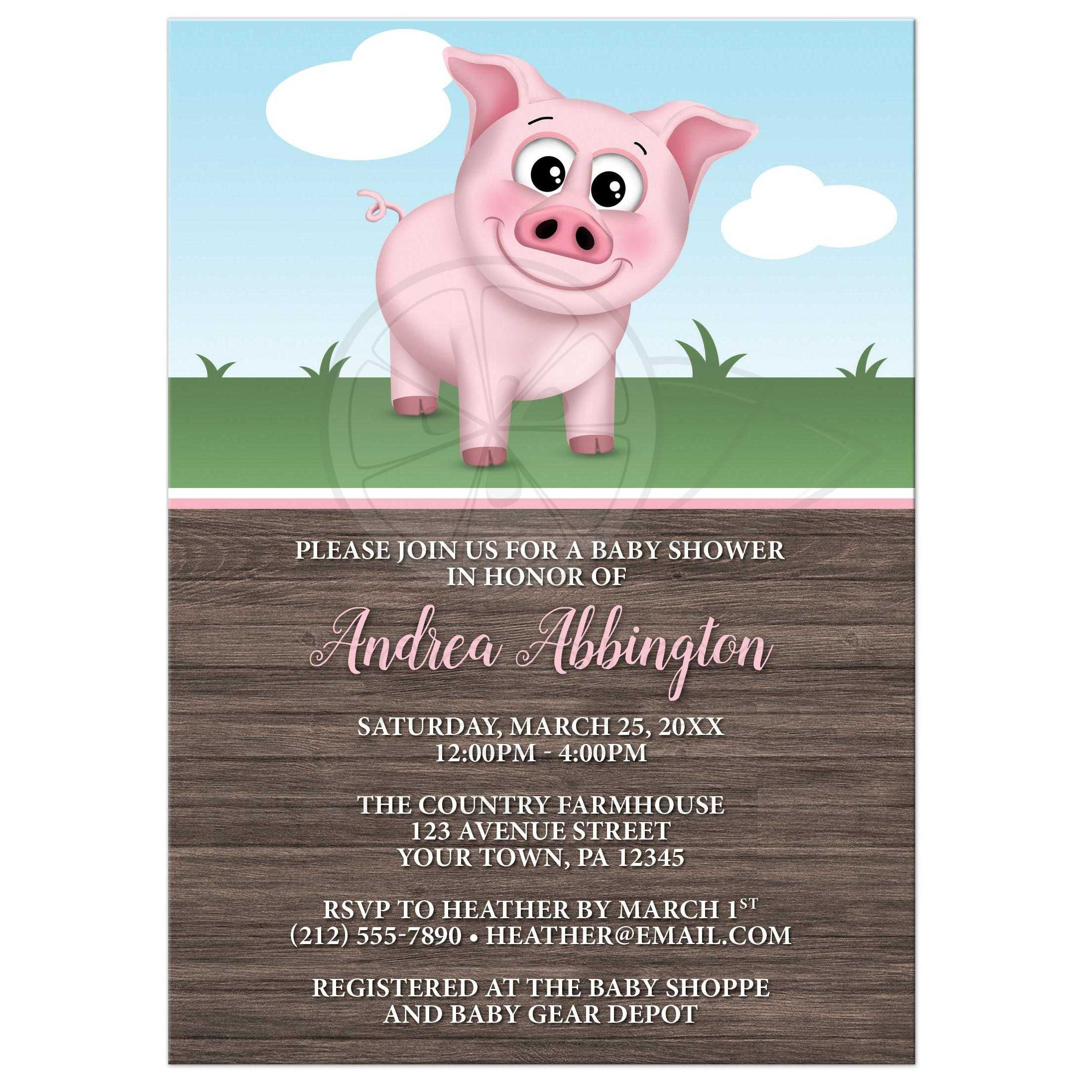 Baby Shower Invitations - Happy Pink Pig on the Farm - Barnyard