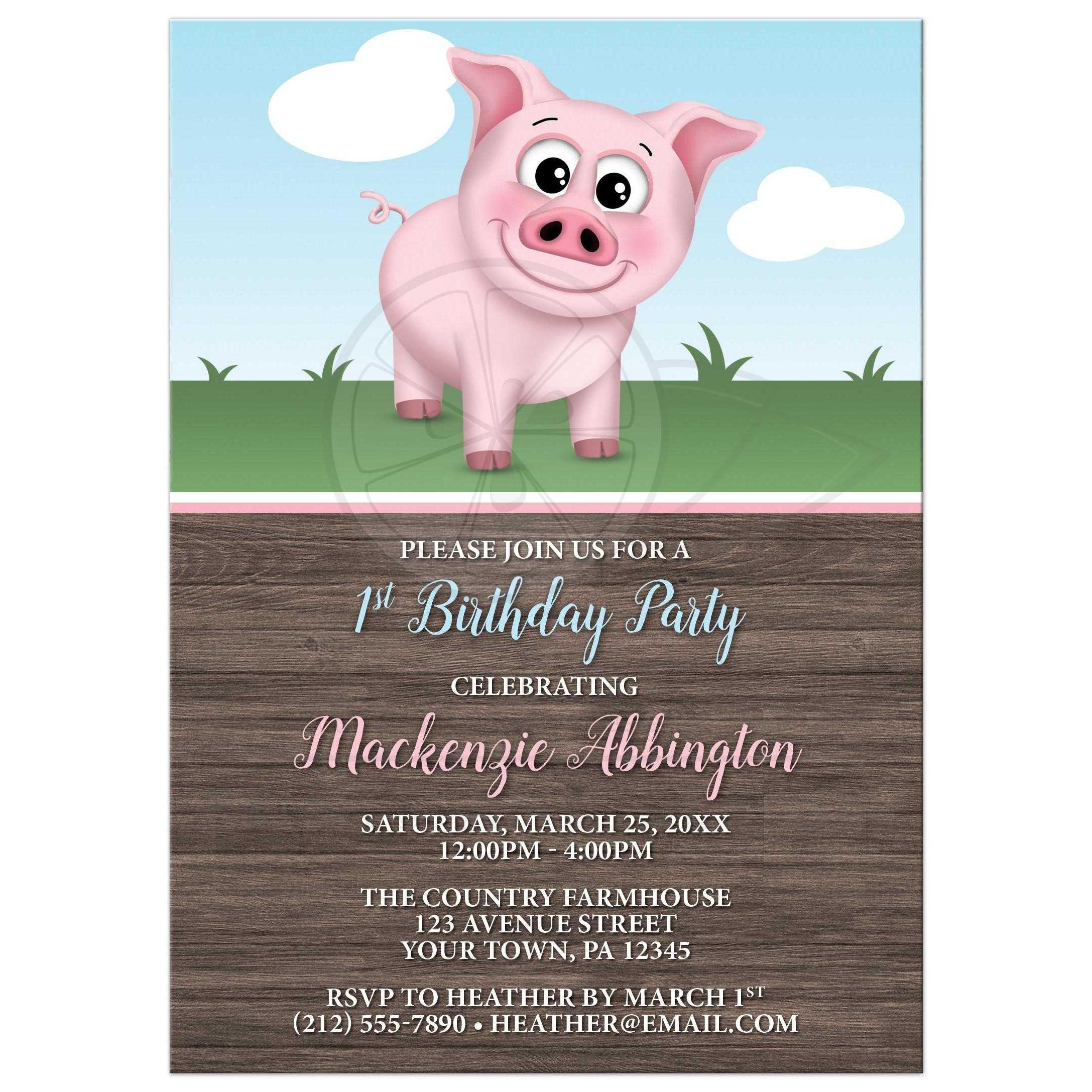 Birthday Party Invitations - Happy Pink Pig on the Farm - Barnyard