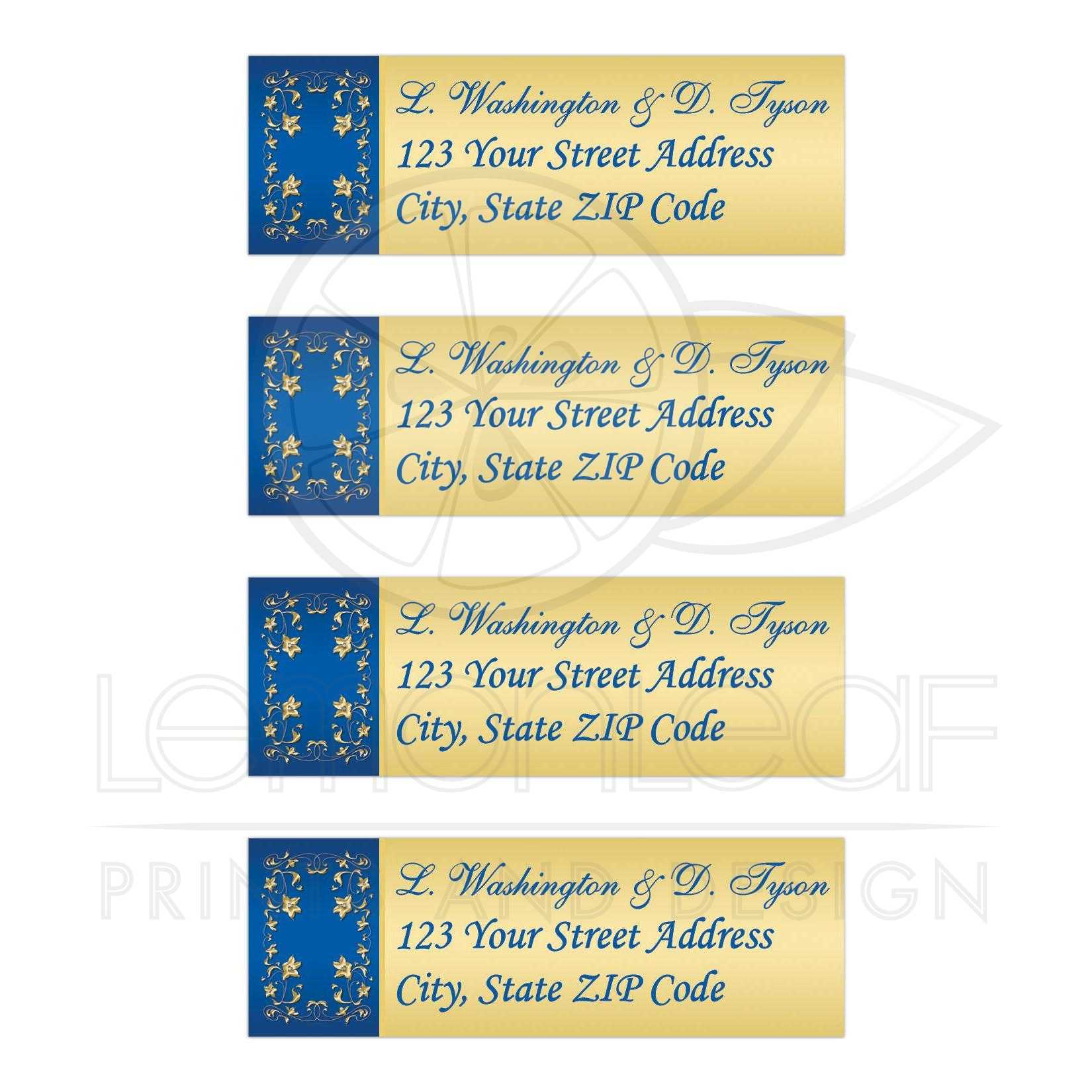 personalized royal blue and gold floral address labels