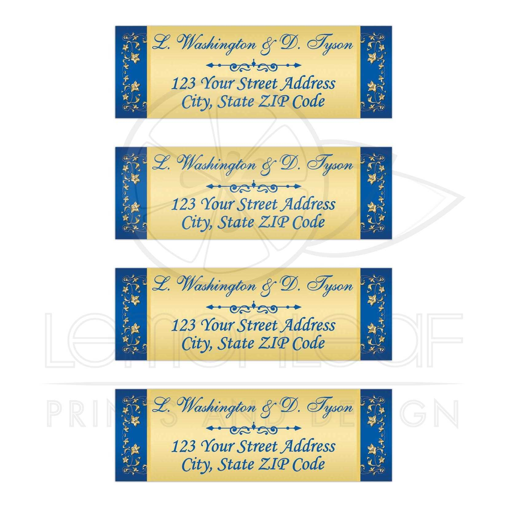 personalized gold tone and royal blue floral return address mailing