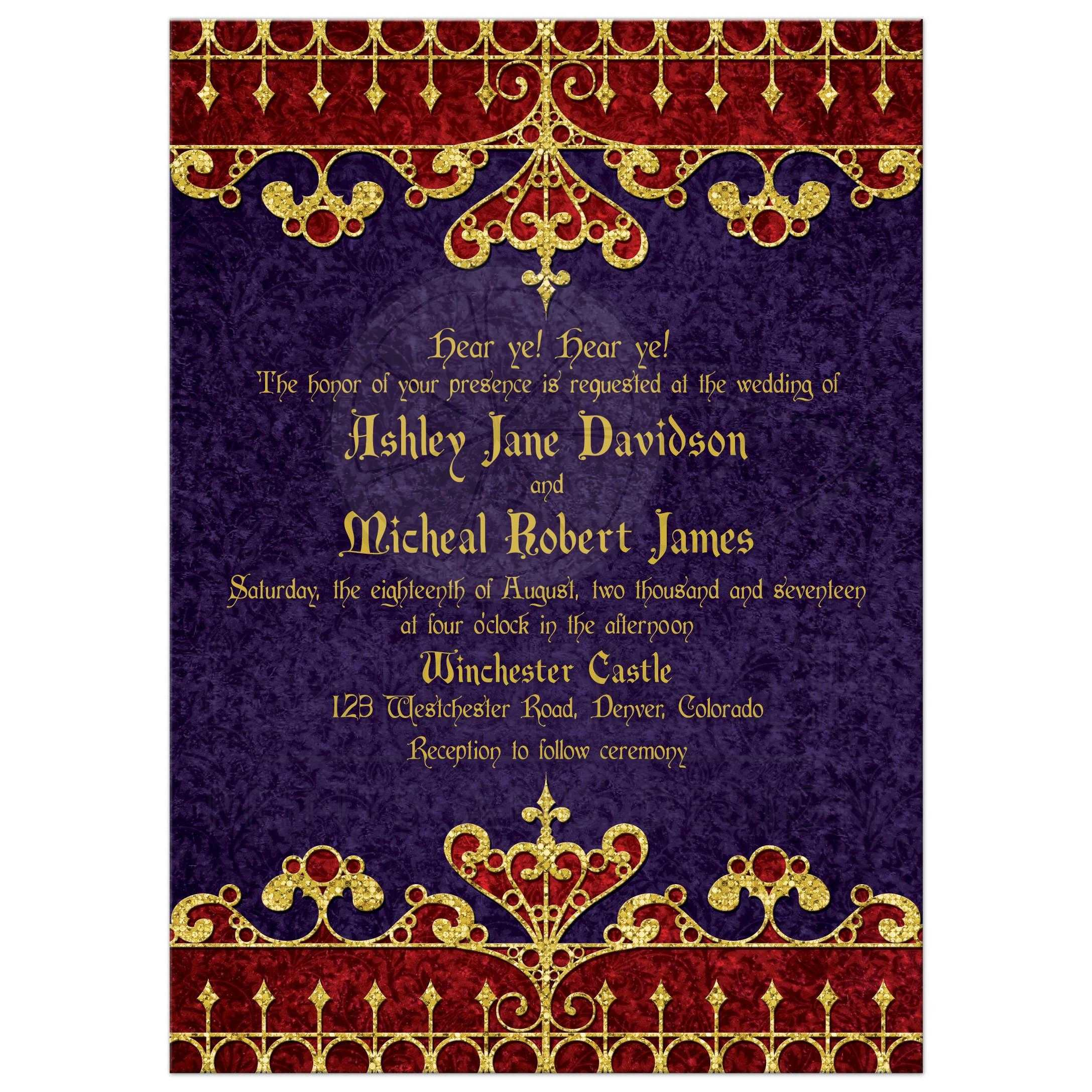 Red, Purple, And Gold Royal Medieval Renaissance Wedding Invitation Front  ...