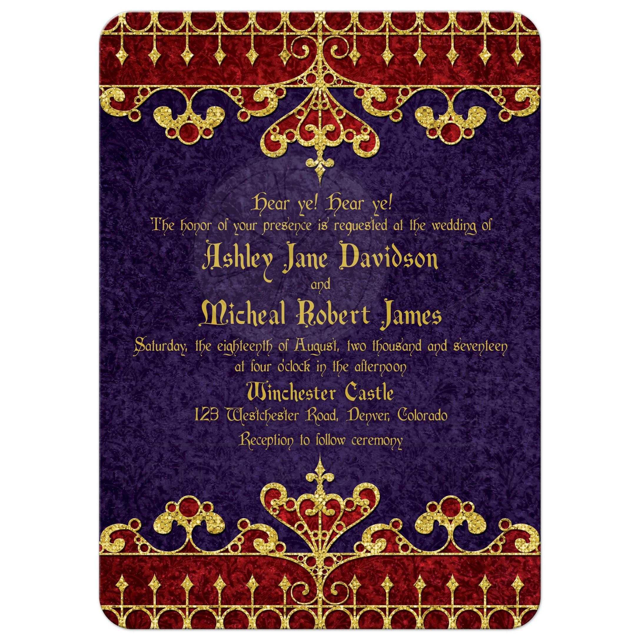 purple and gold royal medieval renaissance wedding invitation front - Medieval Wedding Invitations
