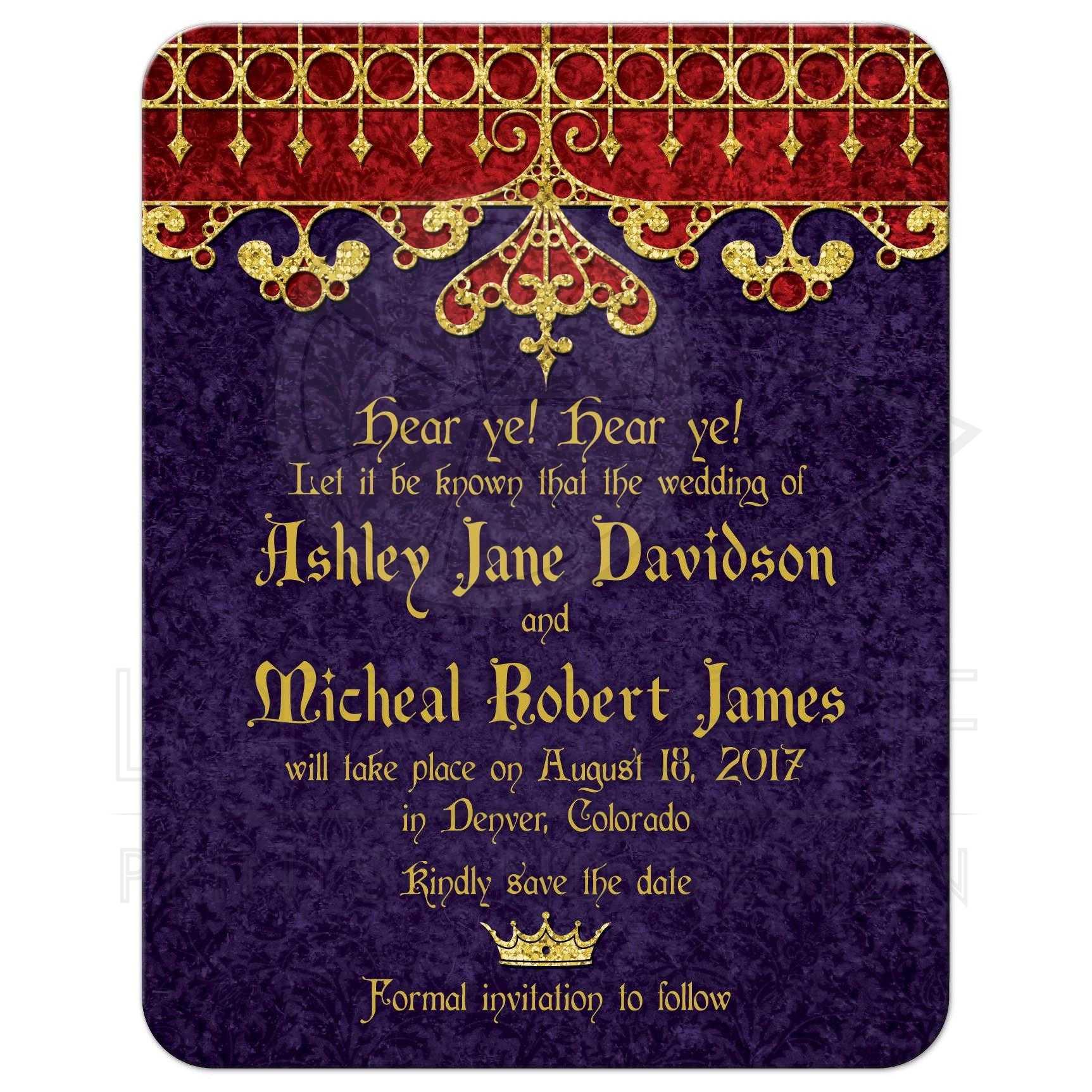 Purple Red Gold Royal Medieval Wedding Save the Date – Wedding Save the Dates