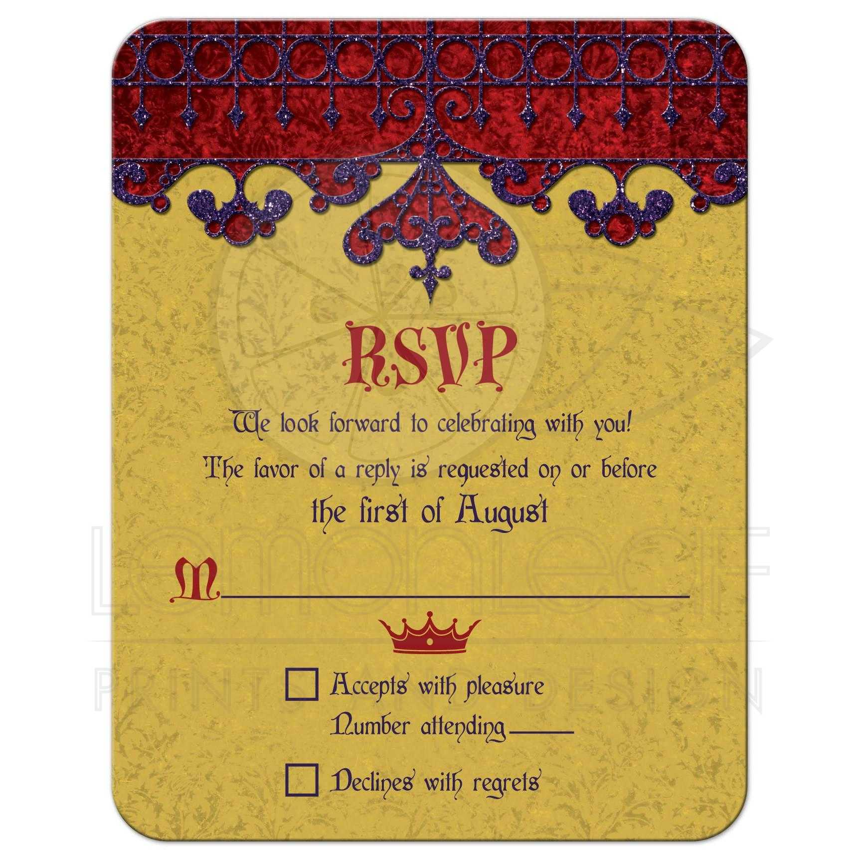 Gold Purple Red Royal Medieval Wedding Reply Card