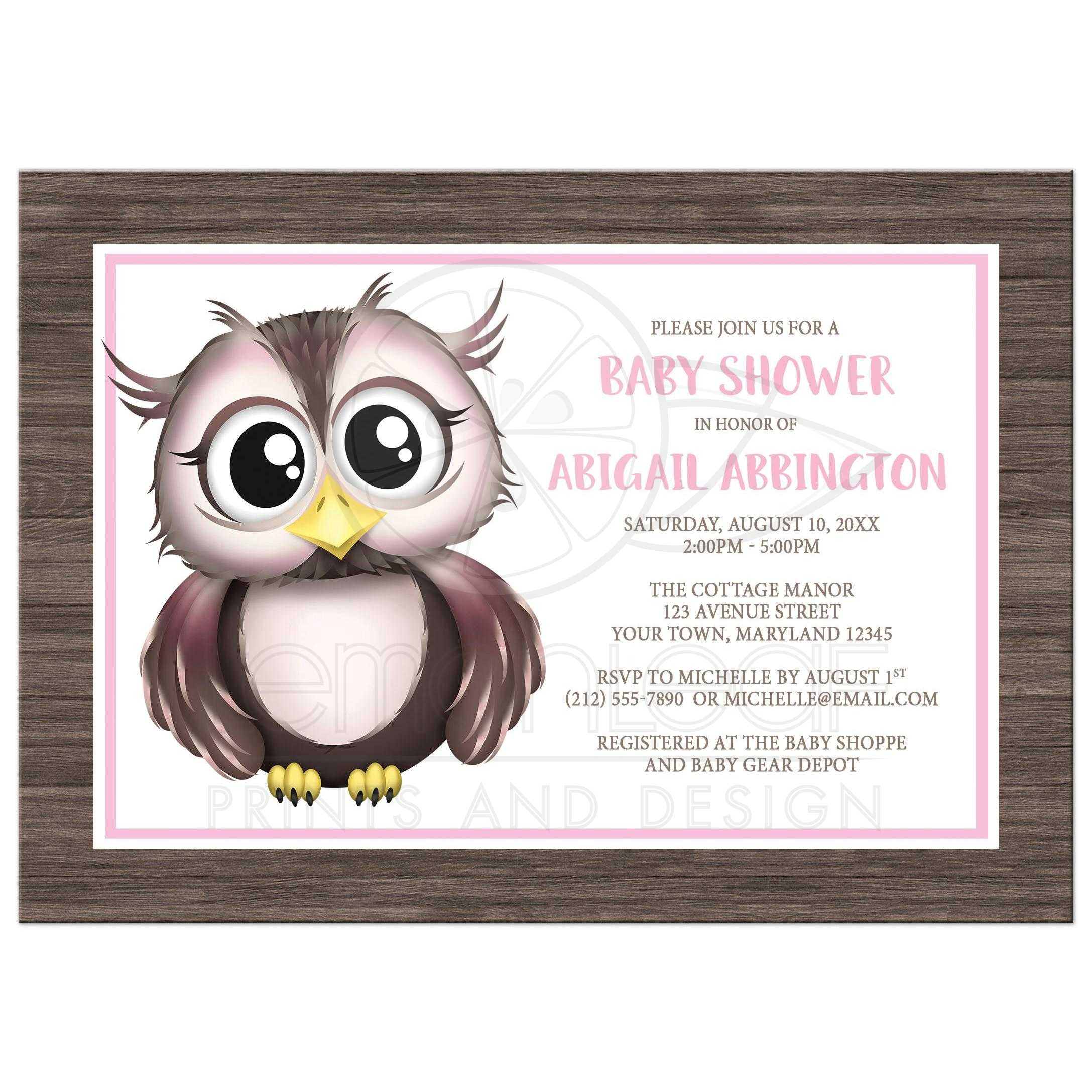 Baby Shower Invitations Owl Pink With