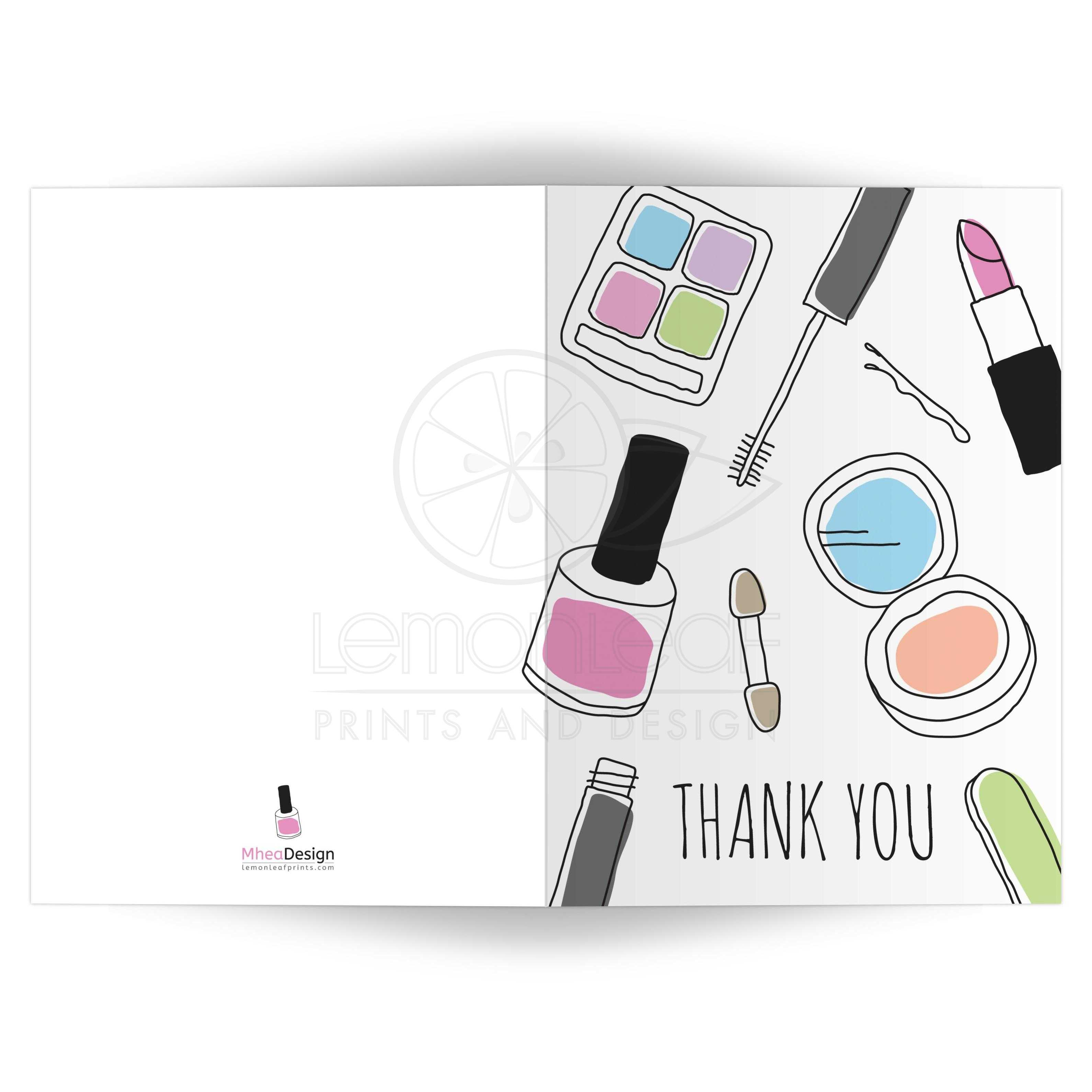makeup thank you card hand drawn doodle style folded a7 5 x7