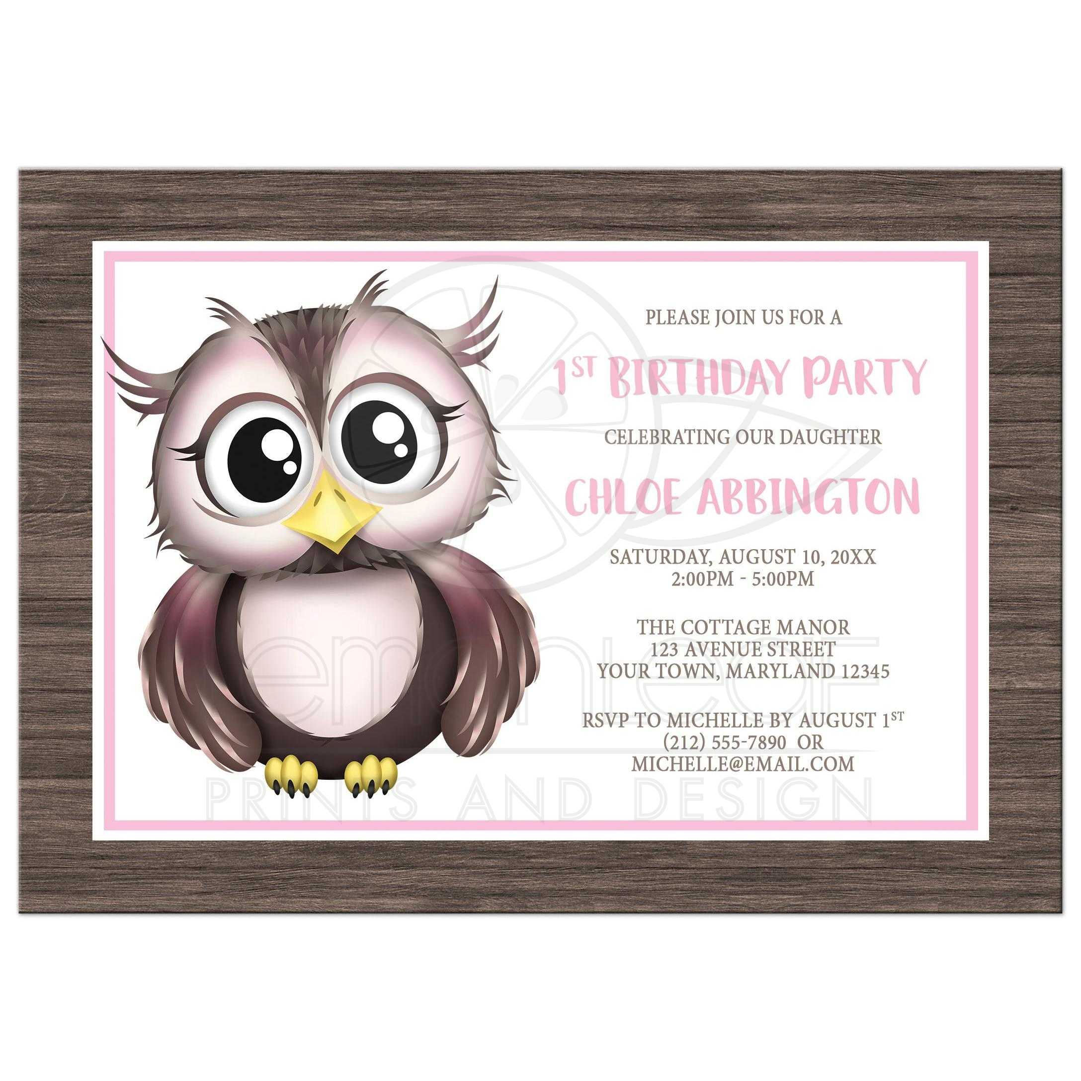 48288 Rectangle Adorable Pink And Brown Owl Birthday Party Invitations2 Jpg T 1500488136