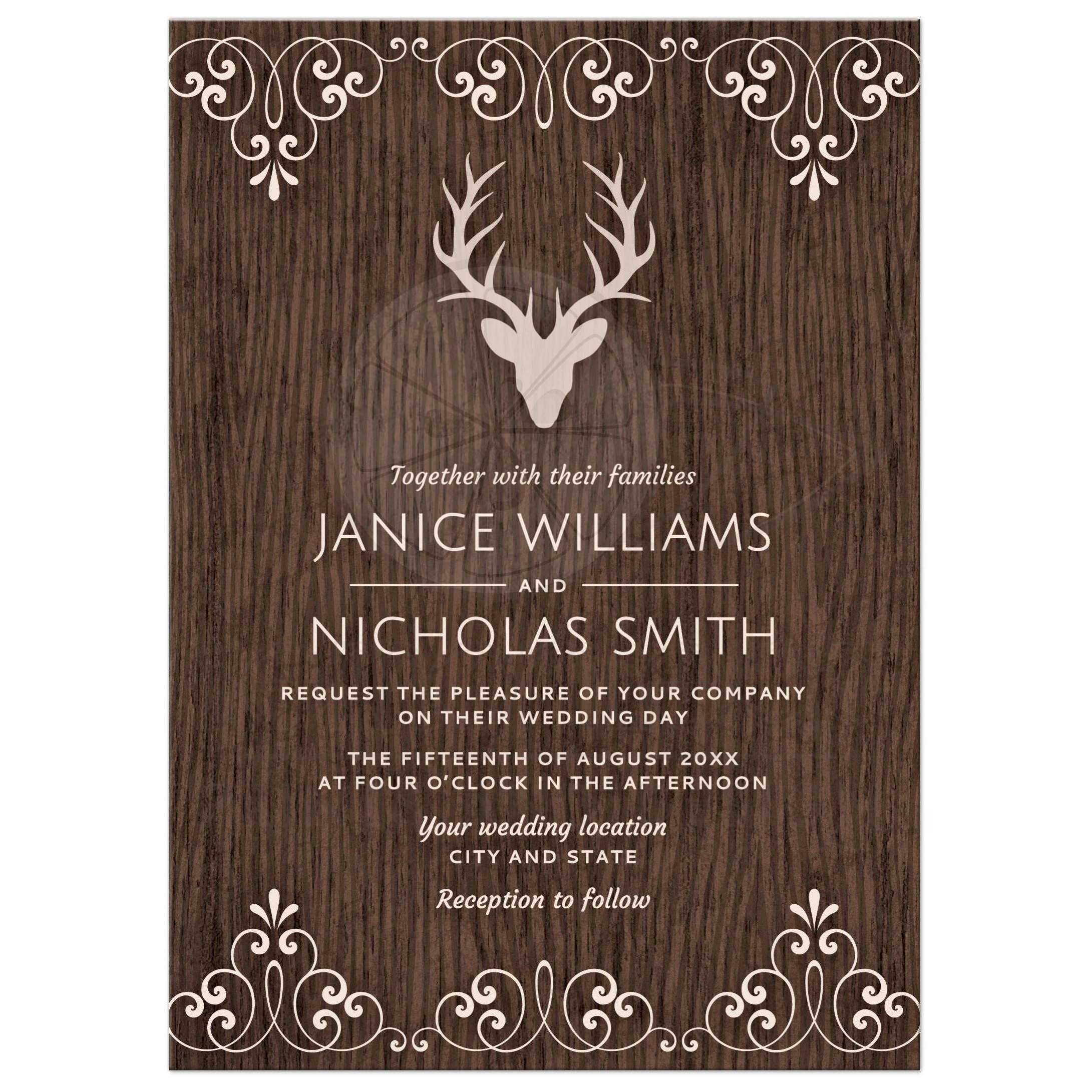 Stag With Antlers On Rustic Wood Wedding Invitation