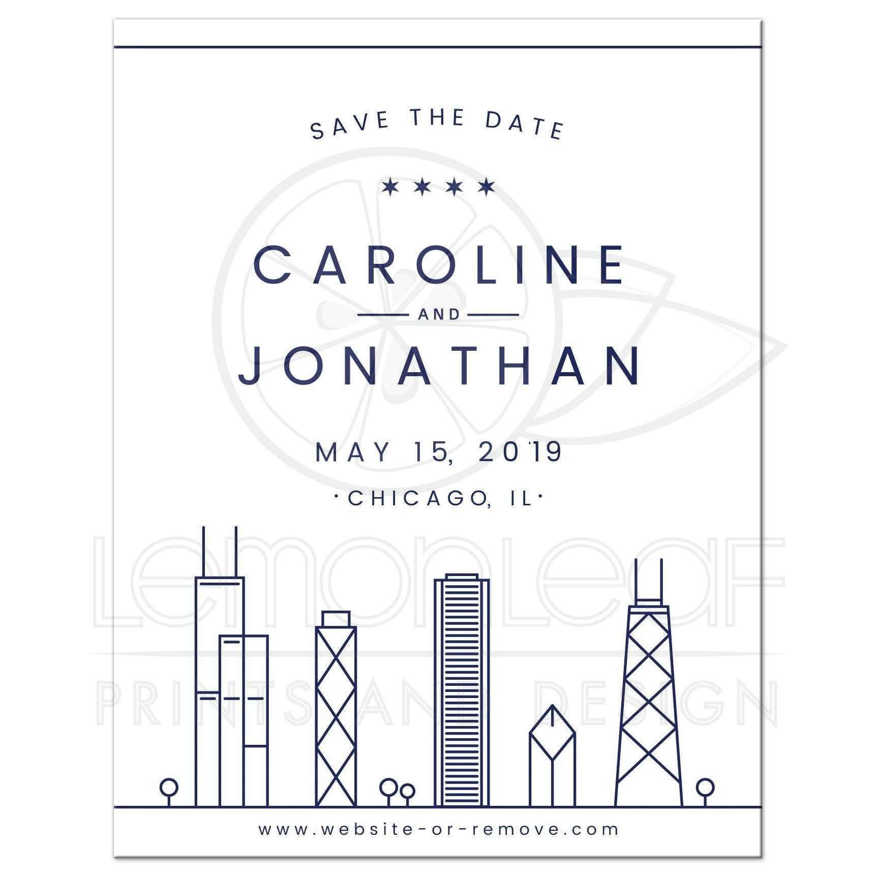 navy blue chicago skyline destination wedding save the date announcement