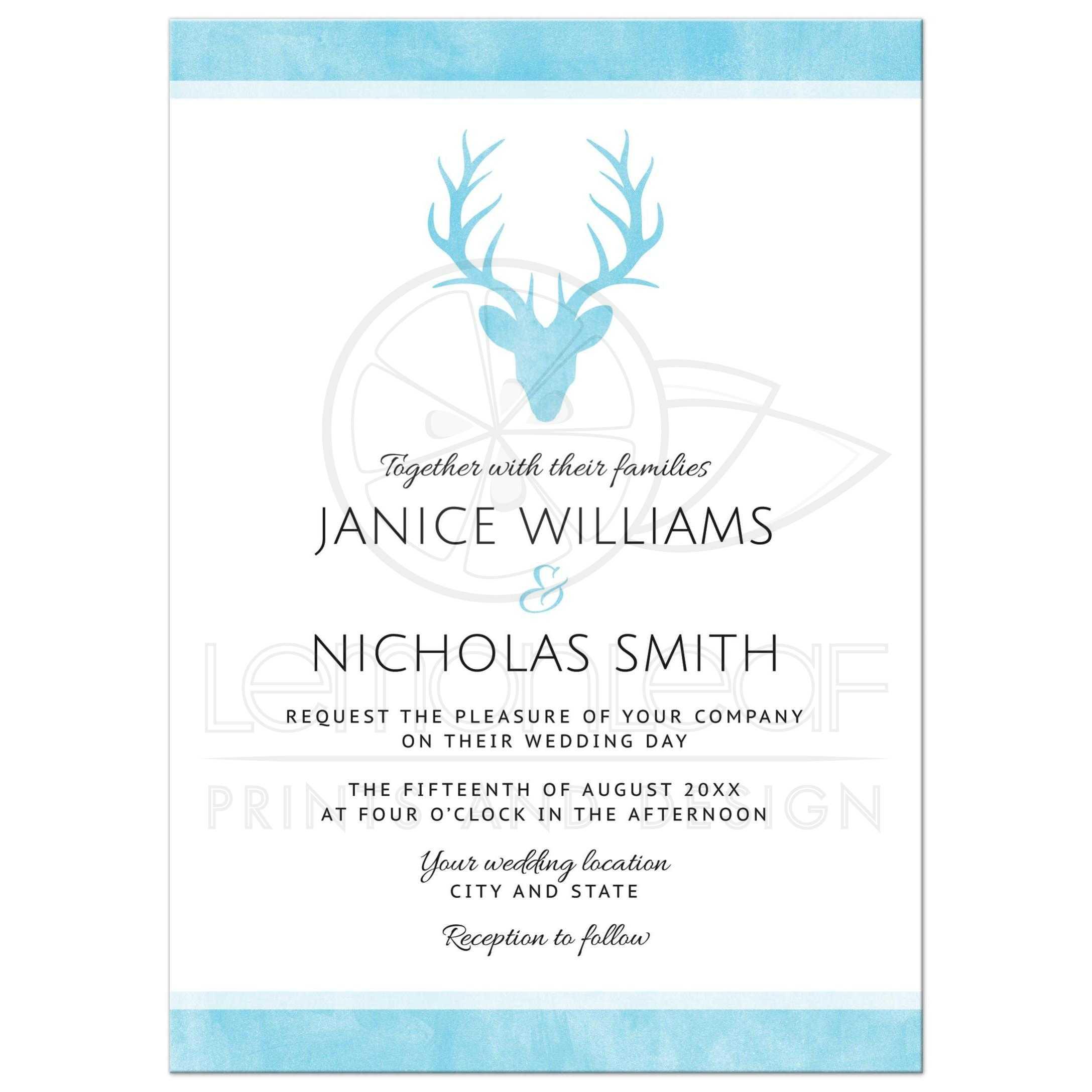 Aqua blue stag elegant minimalist wedding invitation