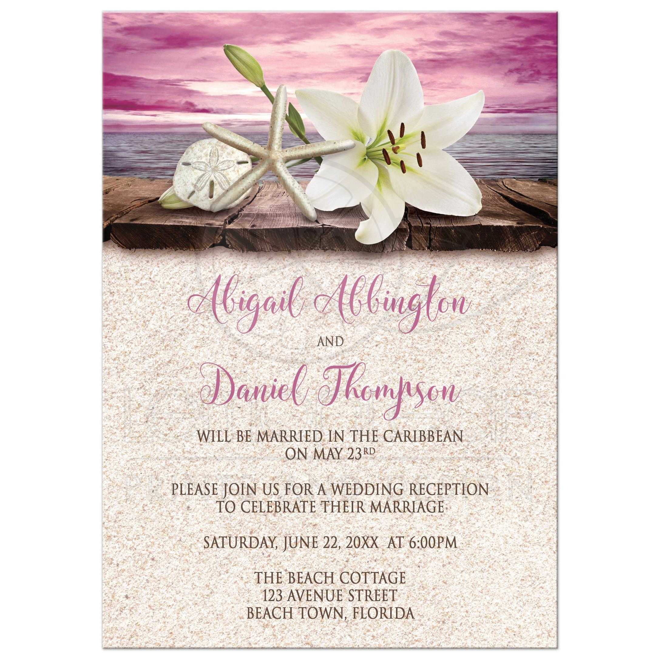 Only invitations beach lily seashells and sand magenta reception only invitations beach lily seashells and sand magenta monicamarmolfo Images