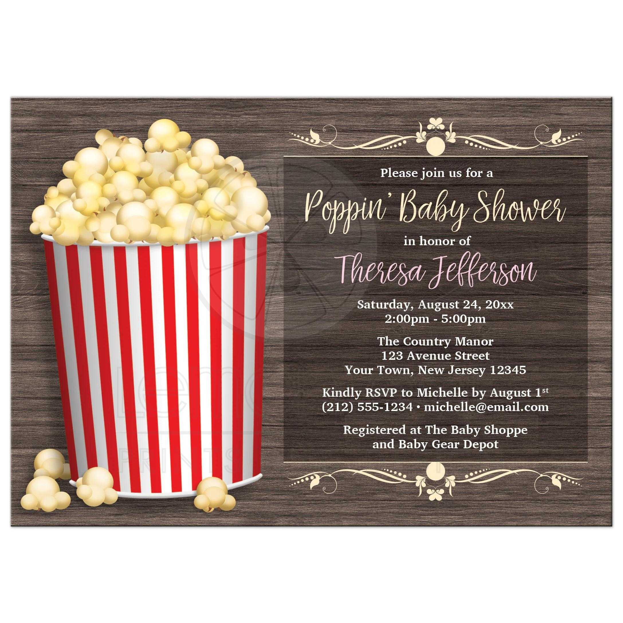 Shower Invitations Popcorn theme Rustic Wood