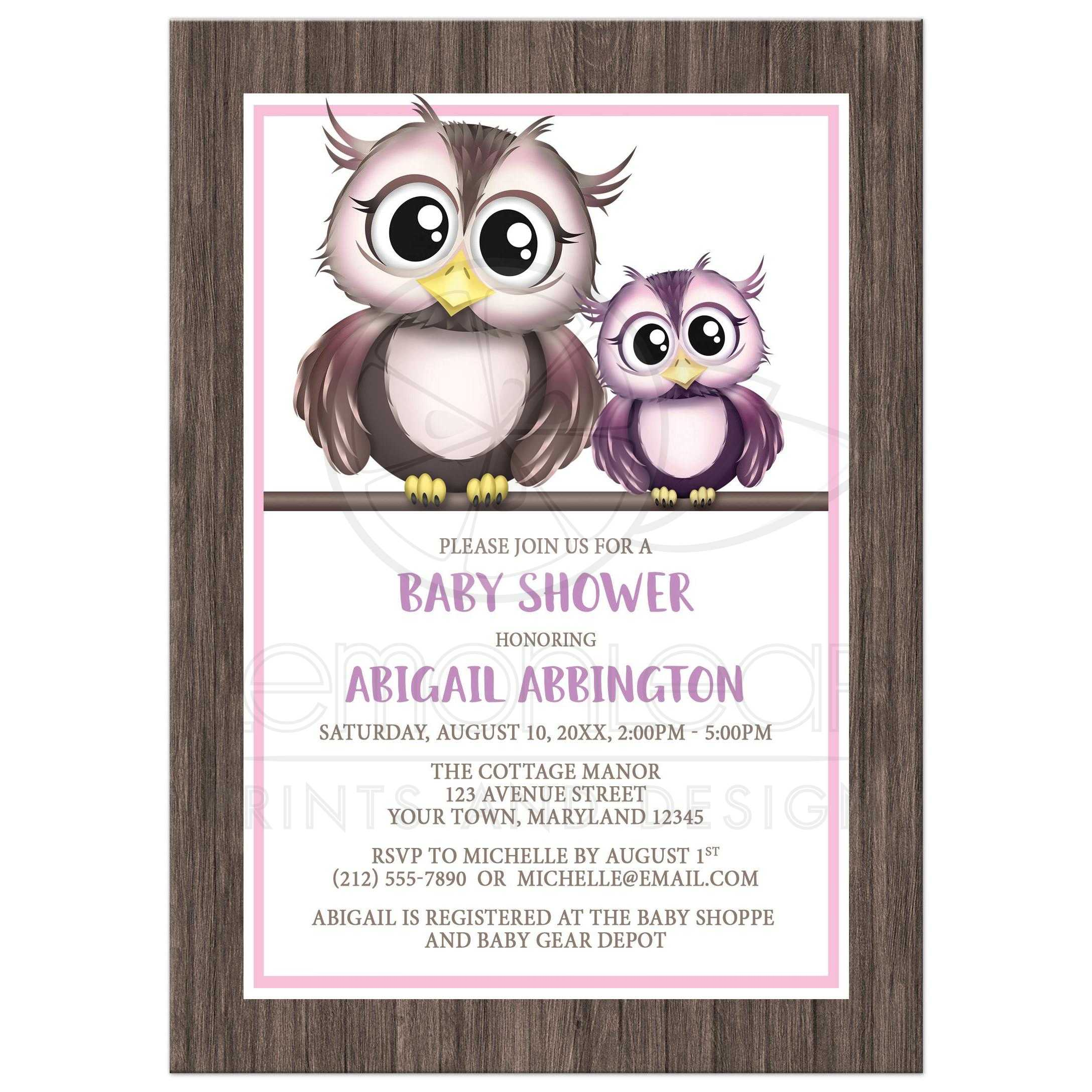 Baby shower invitations owls pink and purple with rustic wood filmwisefo