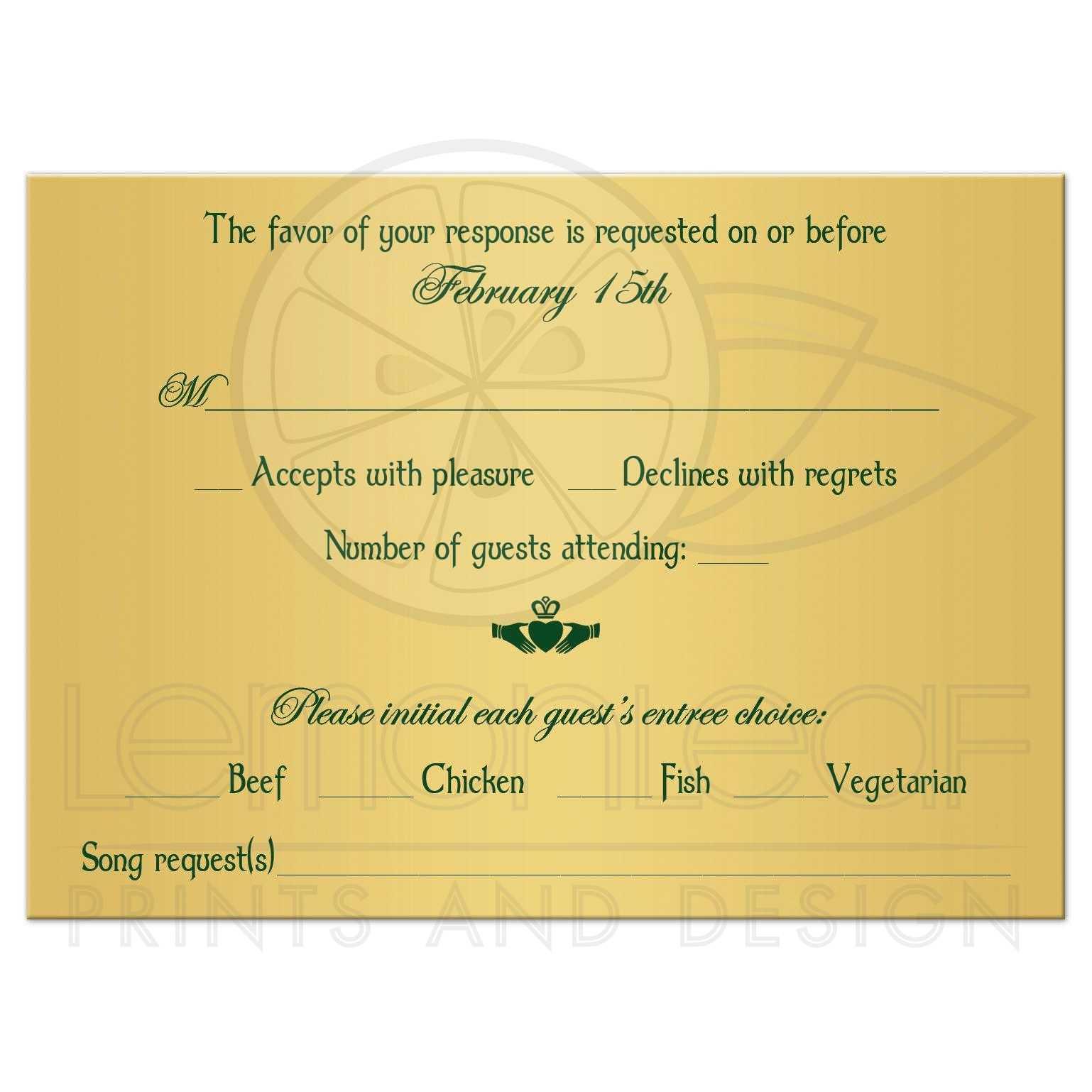 Celtic Wedding RSVP Card Green Gold Floral Border Claddagh