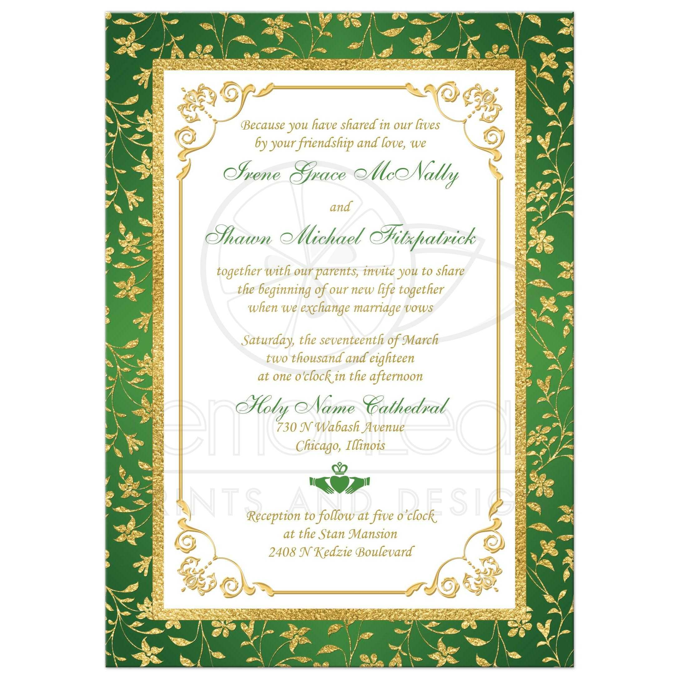 green gold and white floral photo template irish or cletic wedding invitation with faux - Gold And White Wedding Invitations