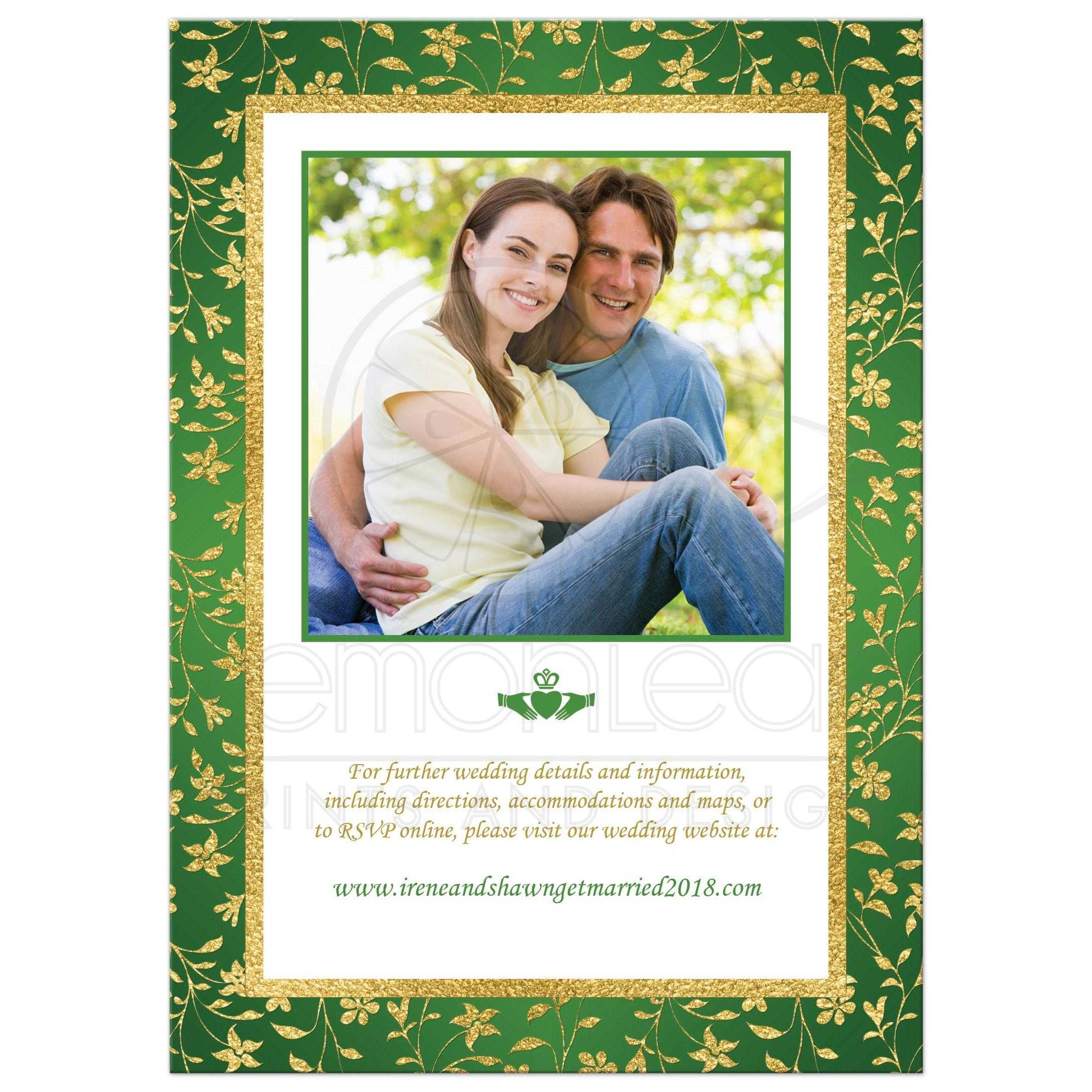 PHOTO Optional Wedding Invitation - Green, Gold, White Floral ...