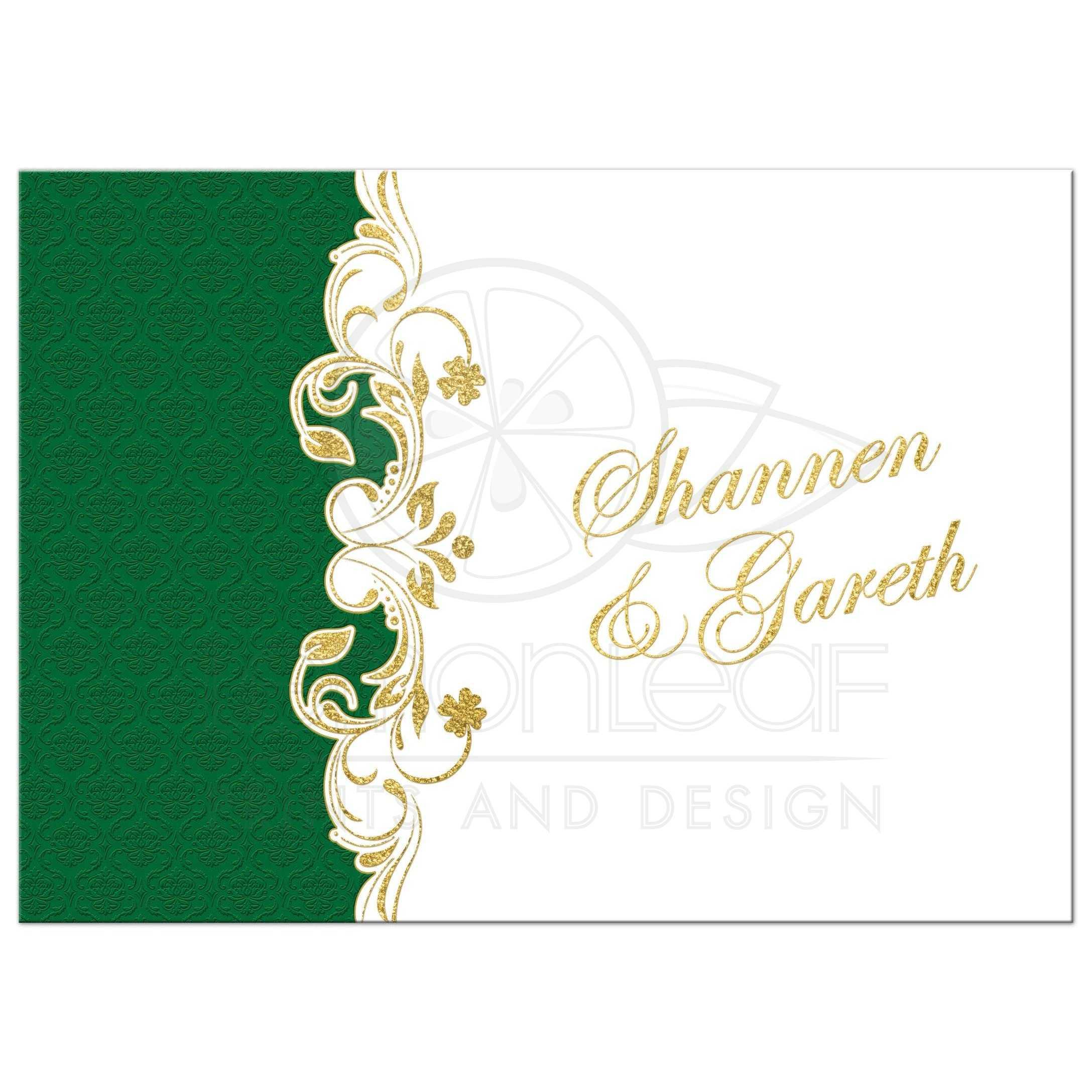 Lucky in Love Wedding Invitation - White, Green, Gold Scrolls ...