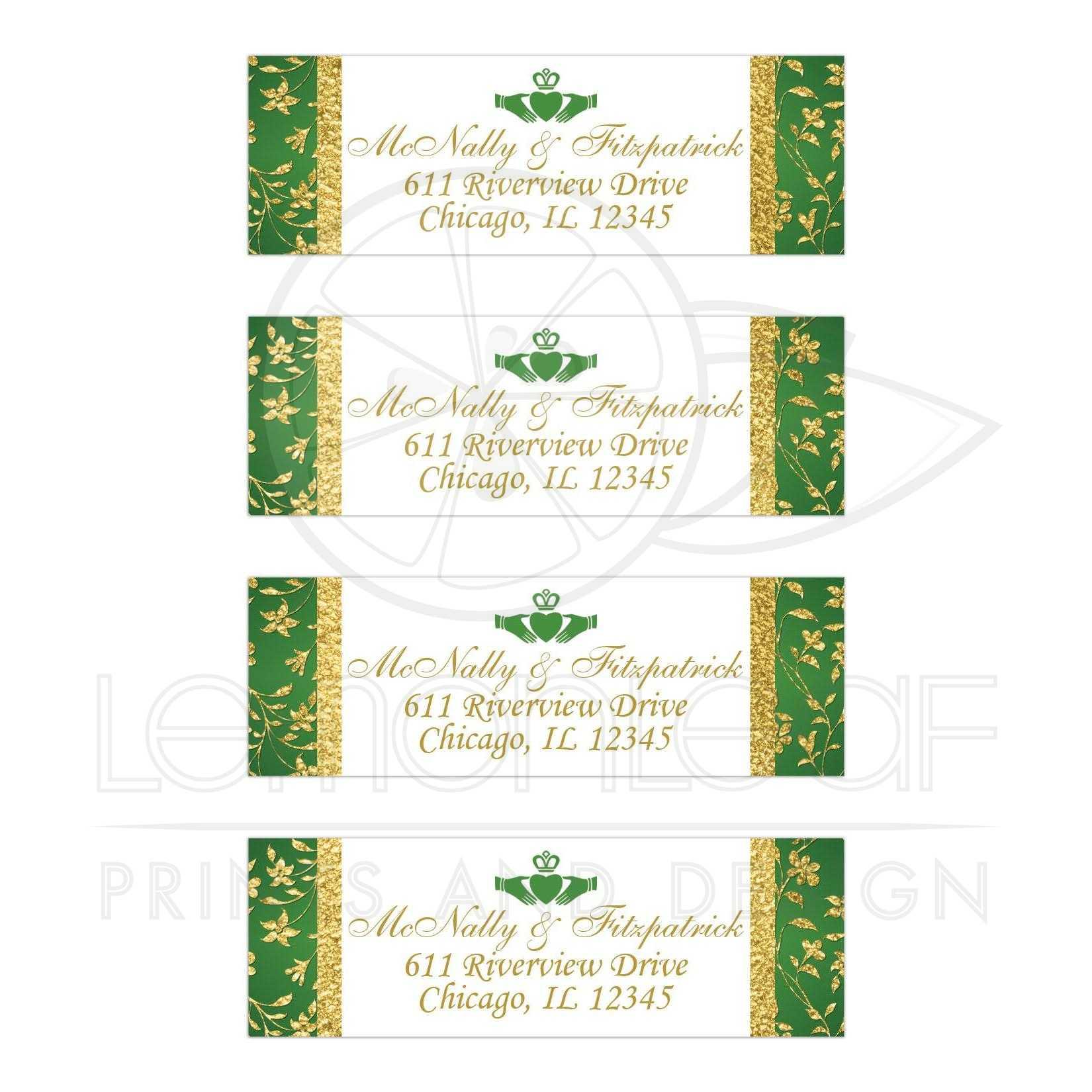 wedding address labels green white gold floral faux gold foil