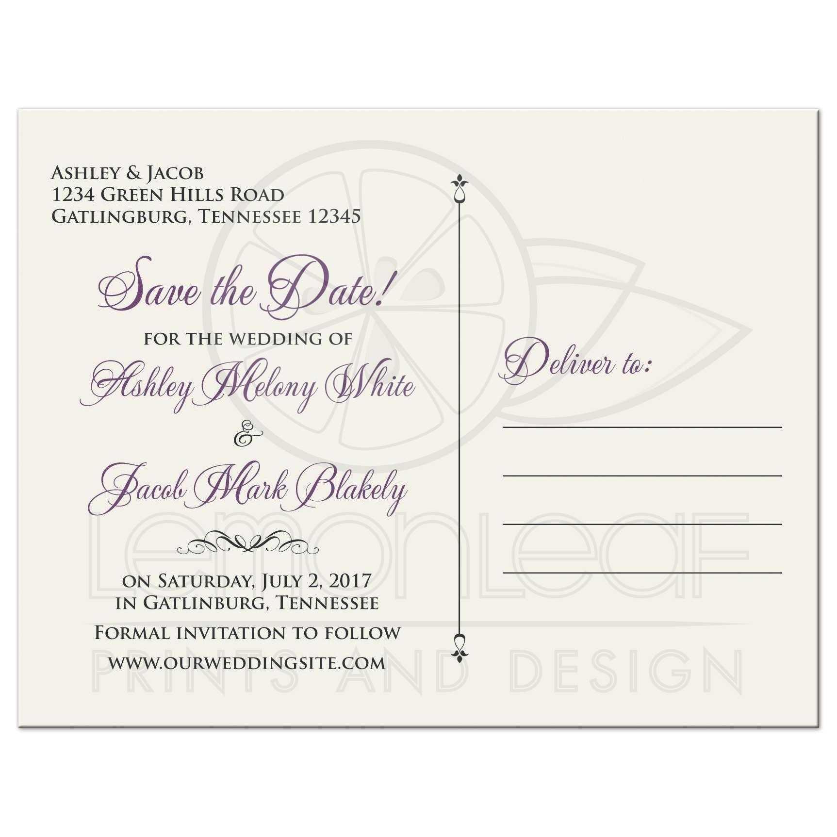 d66e332133e49 ... Vintage mauve purple grey ivory rose wedding save the date postcard back