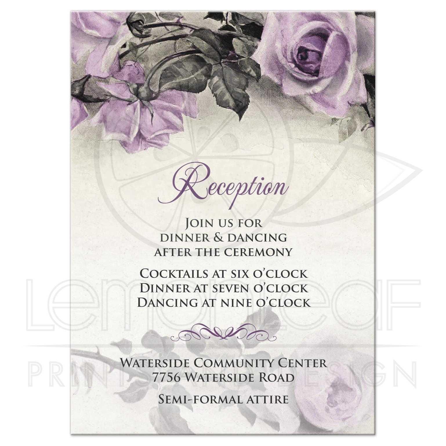 Vintage Mauve Purple Rose Wedding Reception Card