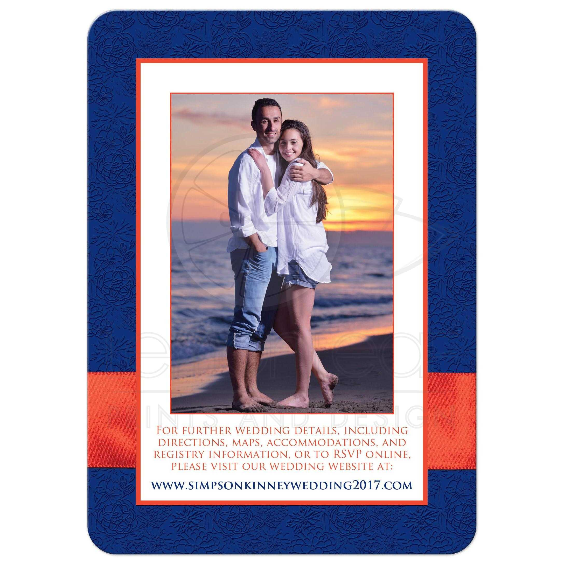 Navy Blue Orange And White Fl Wedding Invites With Ribbon Glitter A