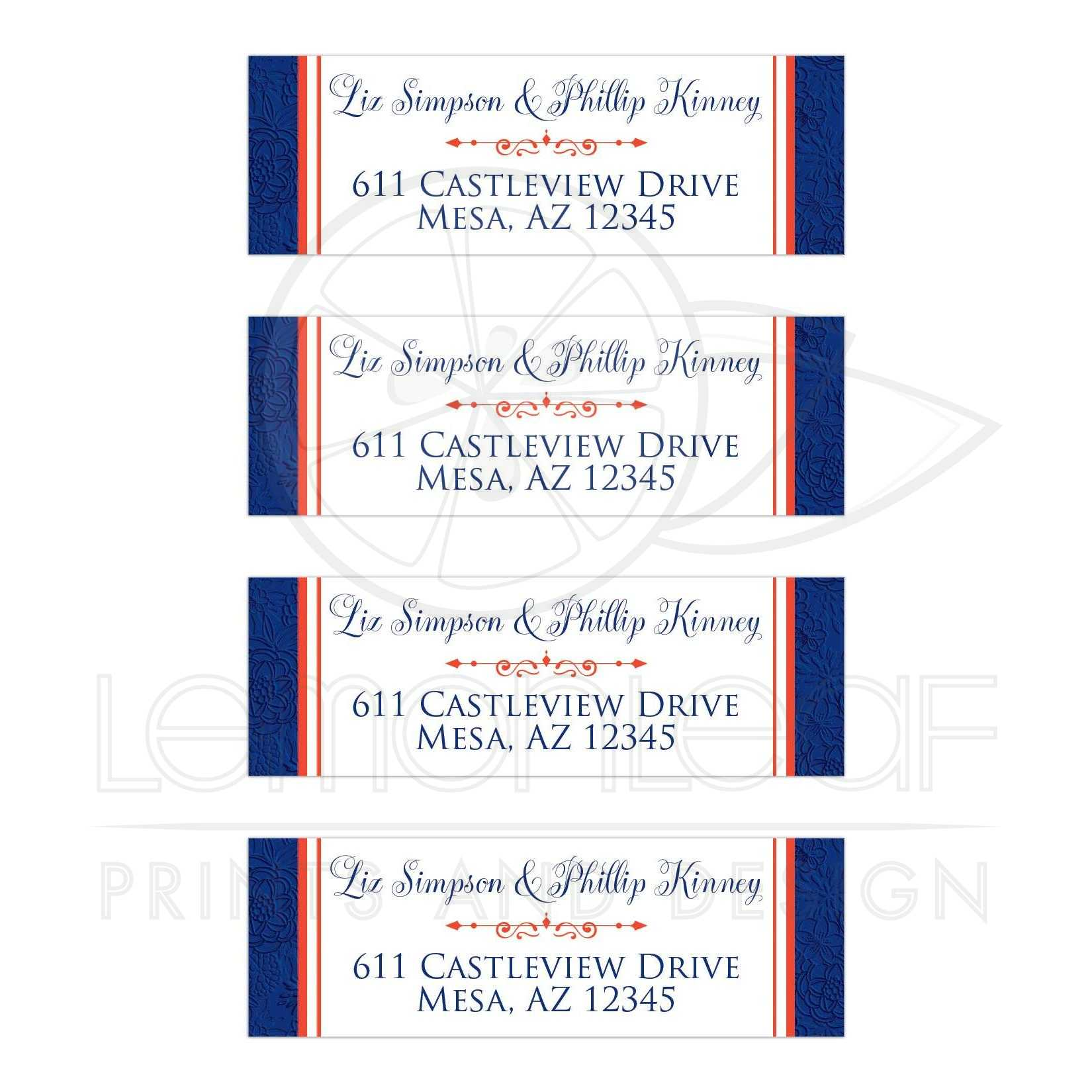 Personalized Royal Blue Orange And White Fl Wedding Return Address Mailing Labels With Decorative Scroll