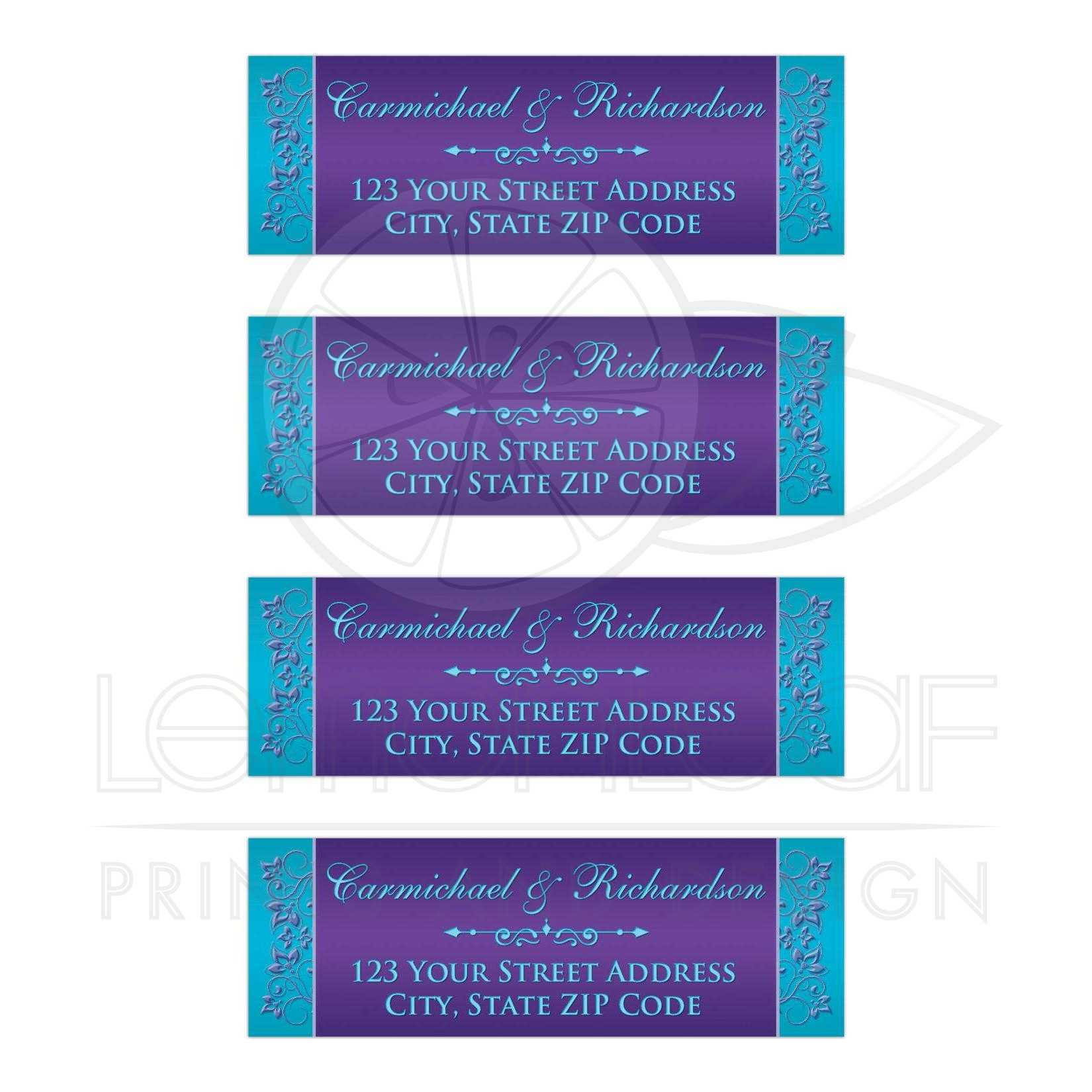 personalized return address labels purple and teal blue floral
