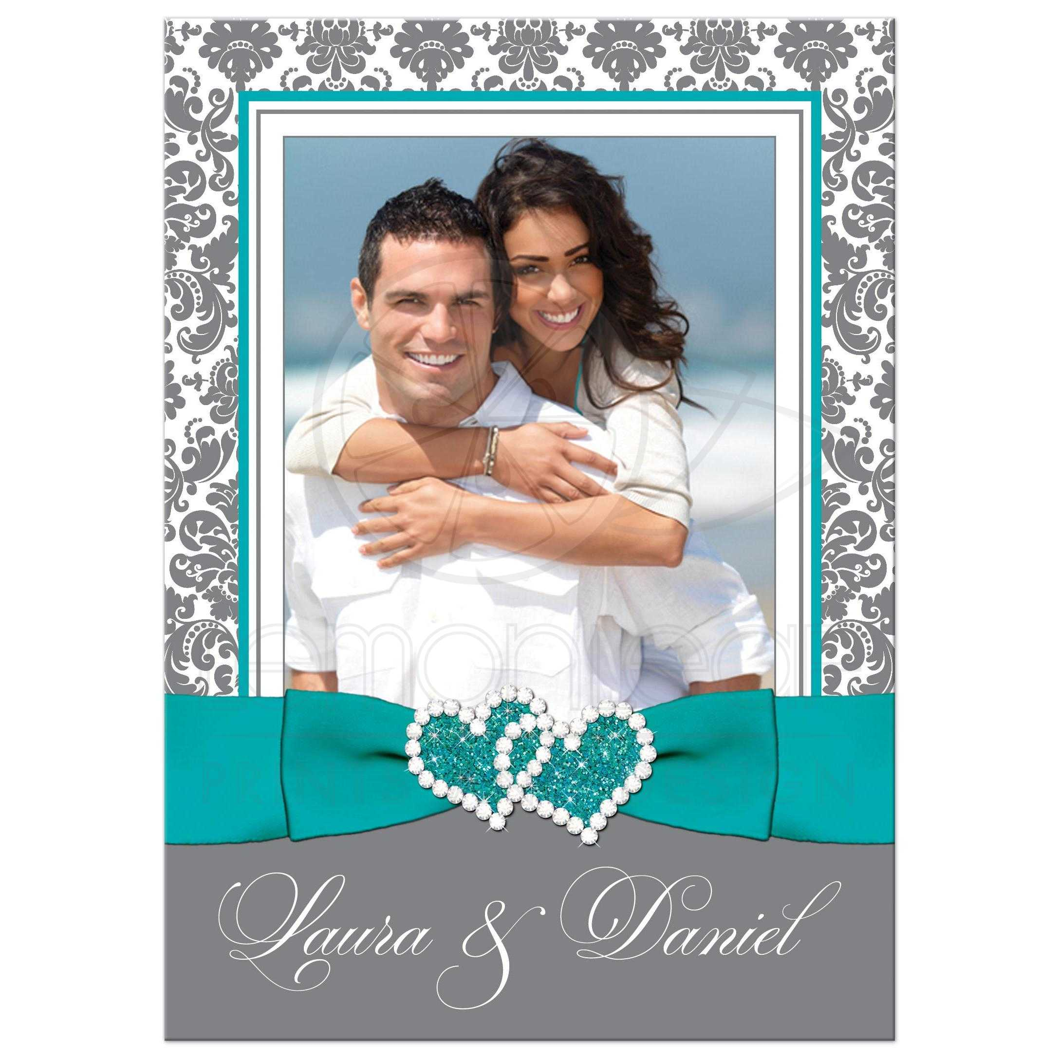 Aqua Green Grey And White Damask Photo Template Wedding Invitations With Turquoise Or Teal Ribbon