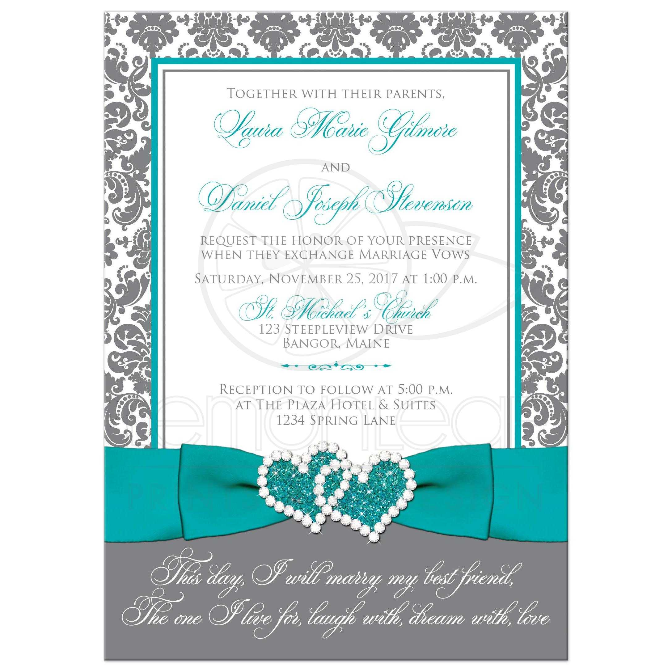 Aqua, White, Grey Damask PHOTO Optional Wedding Invite | PRINTED ...