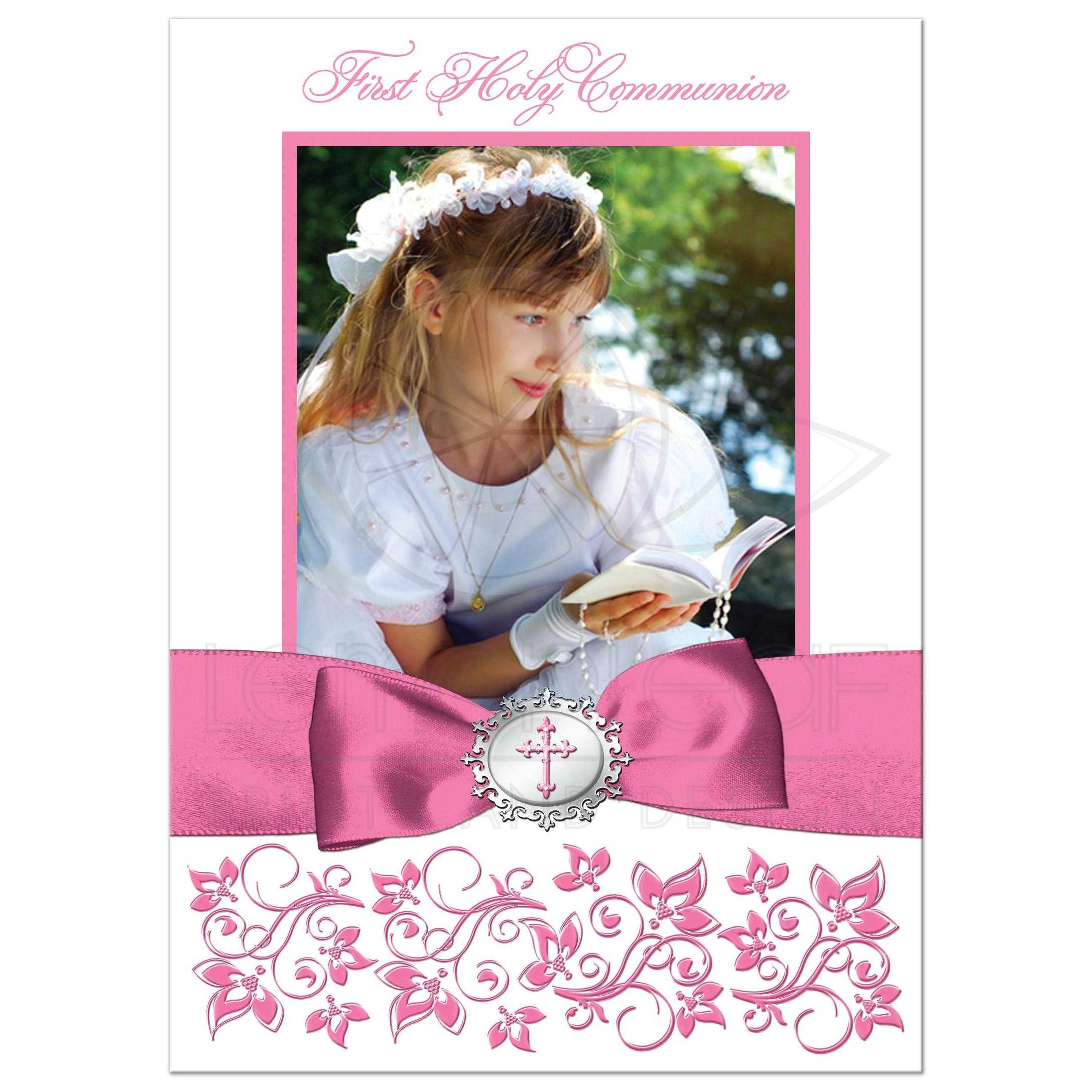 Pink And White Fl Photo Template First Holy Communion Confirmation Baptism Christening Thank