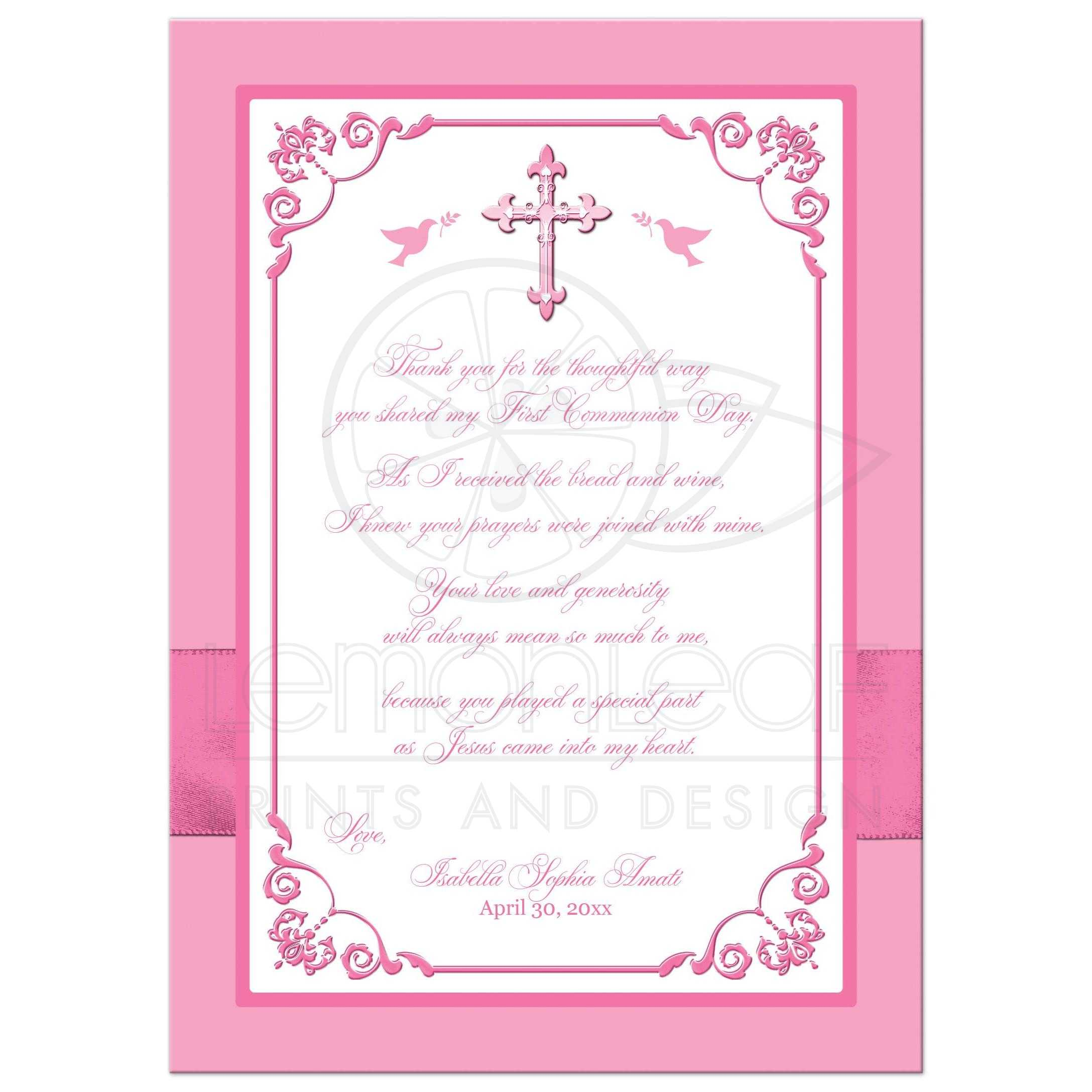 first holy communion photo thank you card flat pink white