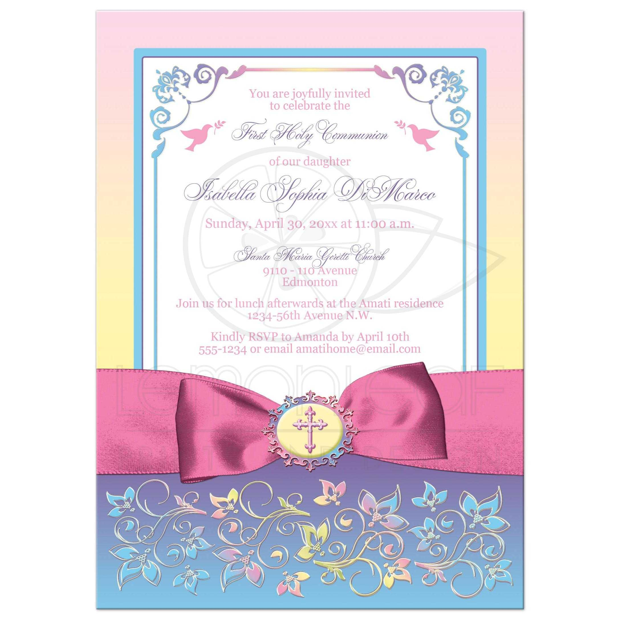 pretty pastels first holy communion invite printed ribbon bow
