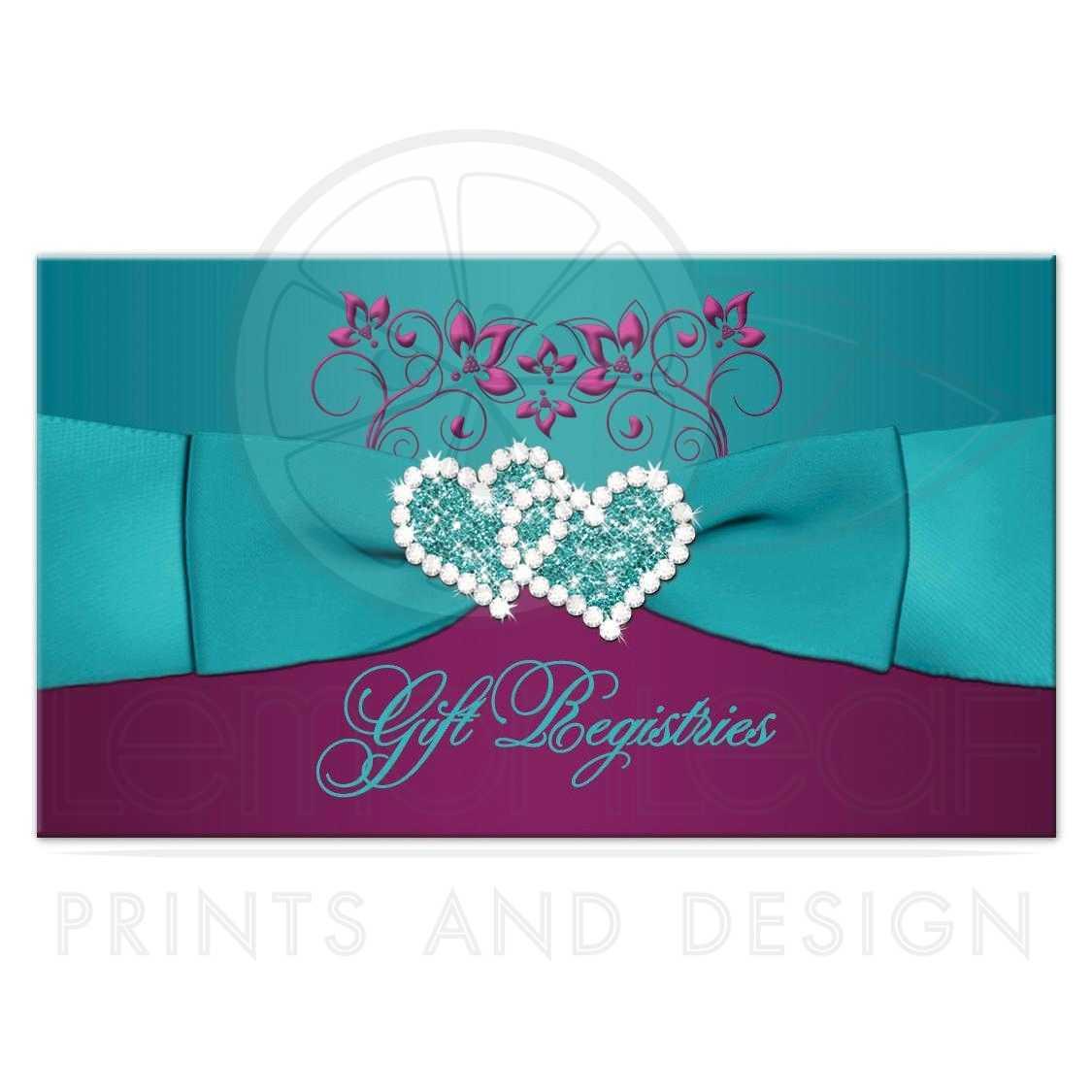 Wedding gift registry enclosure card printed ribbon jewels plum purple teal blue and magenta pink floral wedding gift registry or reception enclosure card junglespirit Images
