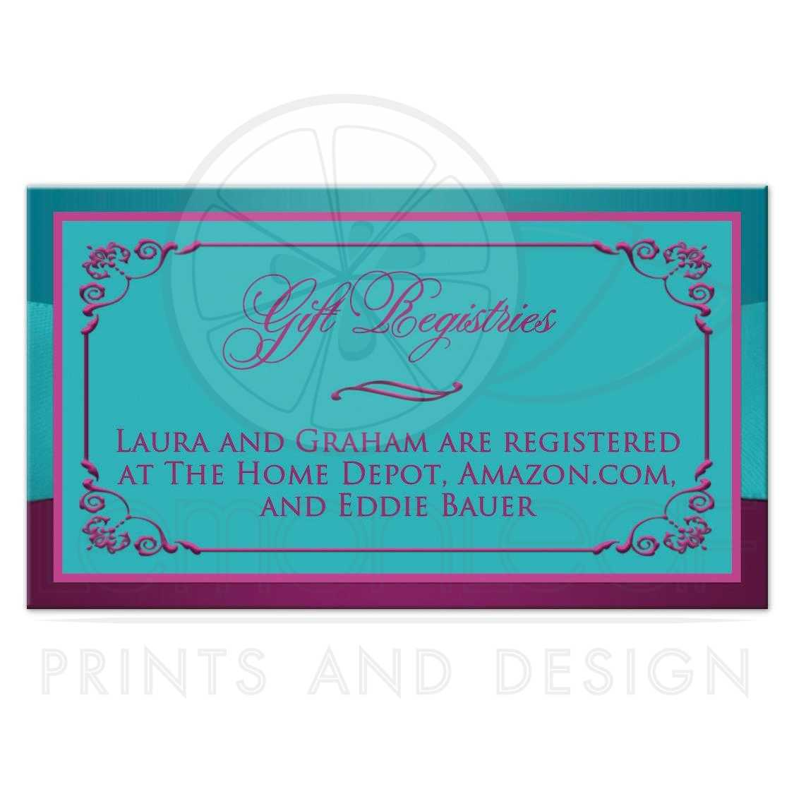 Wedding gift registry enclosure card printed ribbon for At home wedding registry