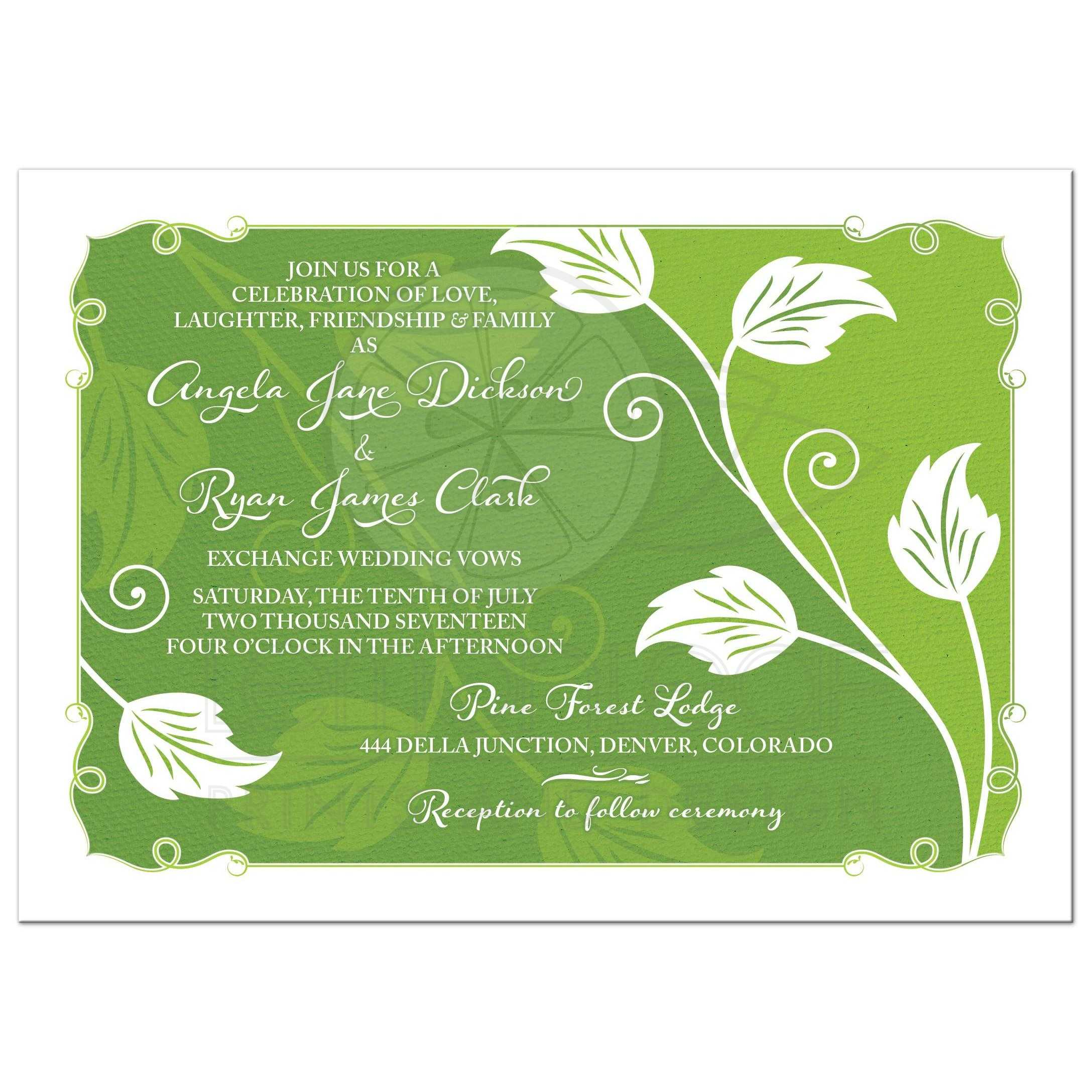 Greenery Wedding Invitation Green Leafy Vine Leaves