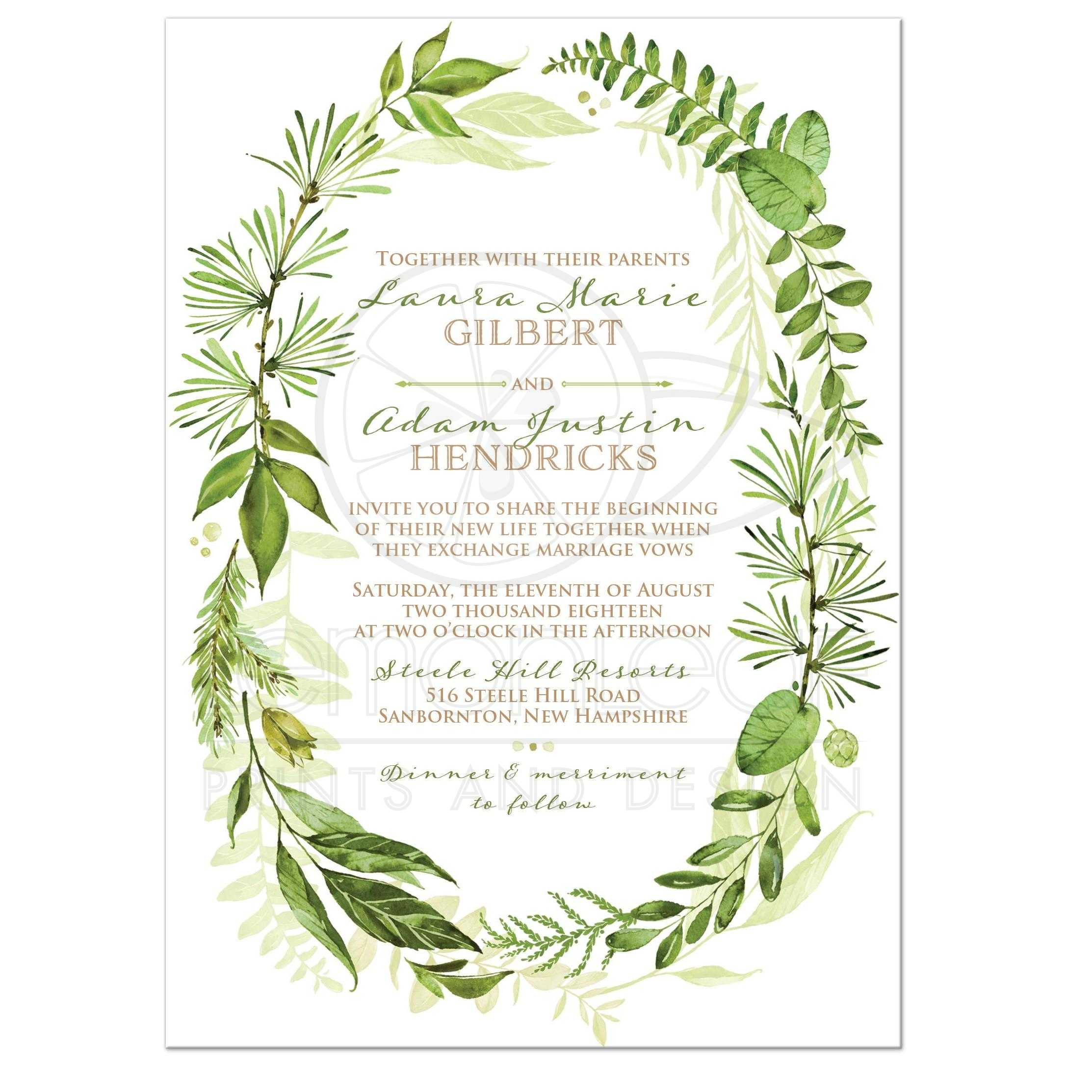 Greenery Wedding Invitation With Orted Green Watercolor Foliage Leaves Stems And Boughs In An