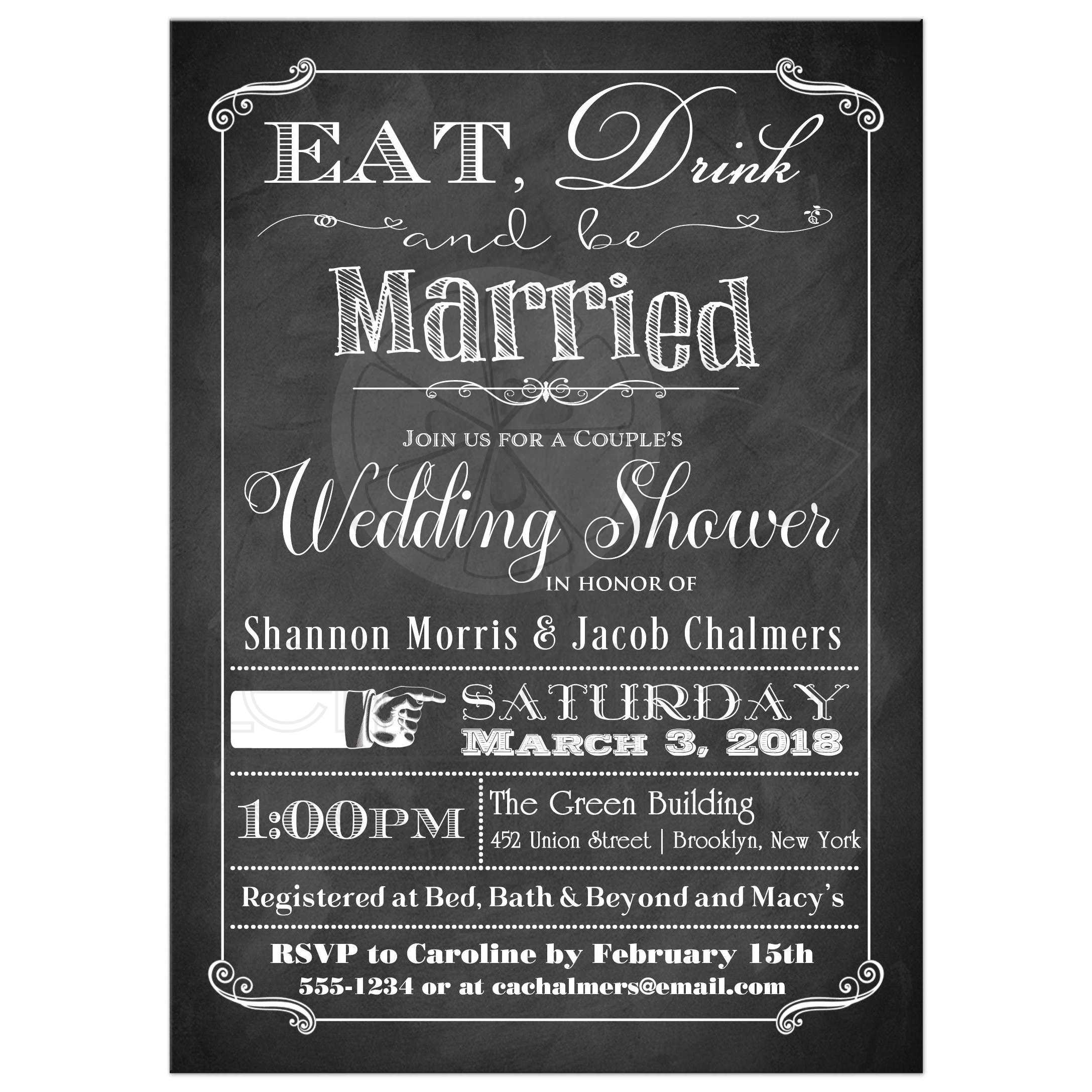 Black And White Vintage Poster Eat Drink Be Married S Wedding Shower