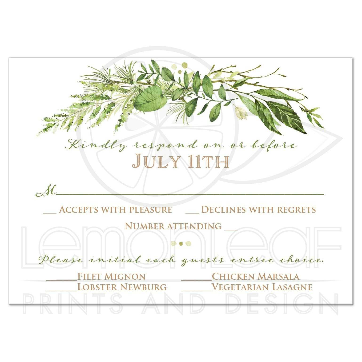 Greenery Foliage Wedding Response Card | Watercolor Leaves, Stems, Swag
