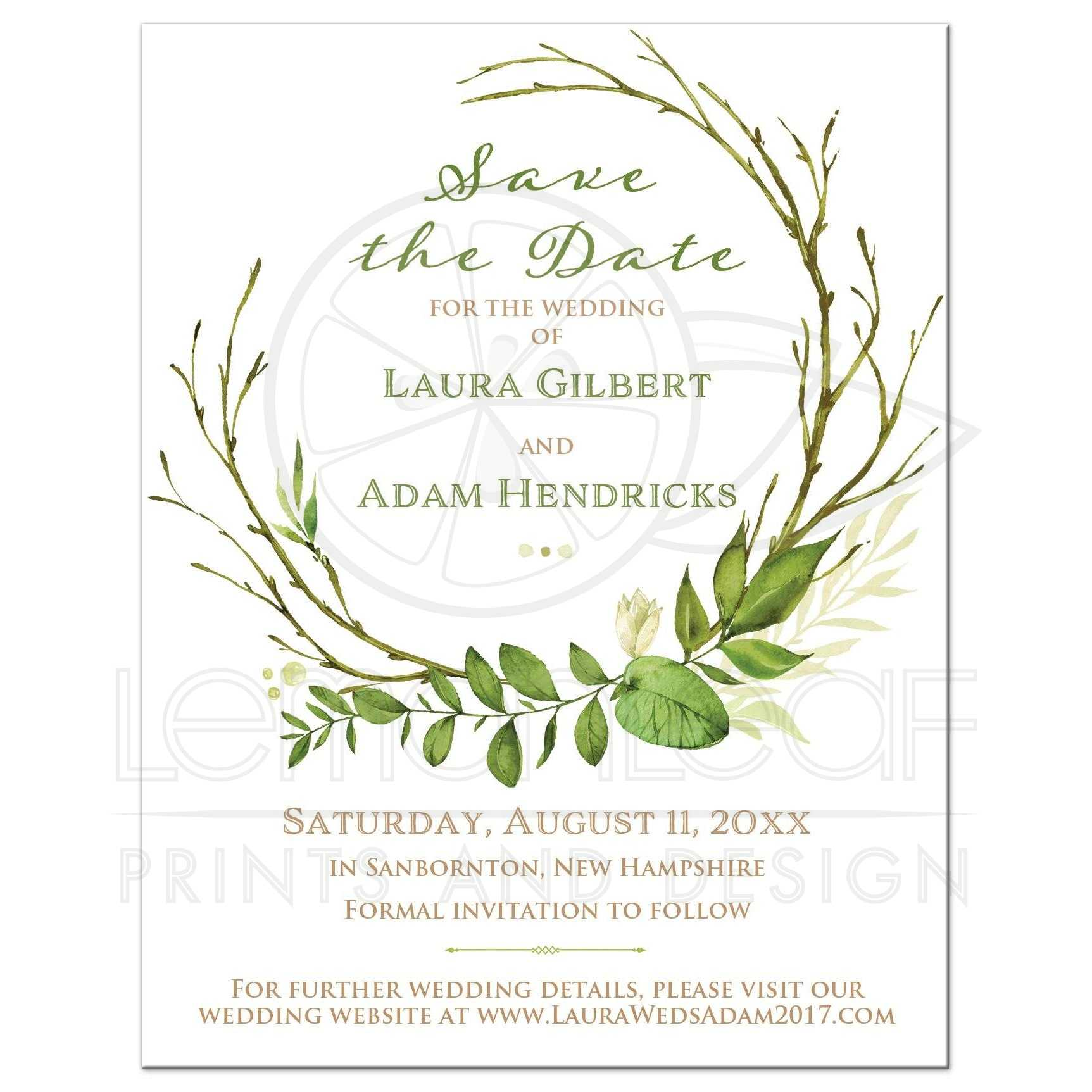 Greenery Foliage Wedding Save The Date Card Watercolor