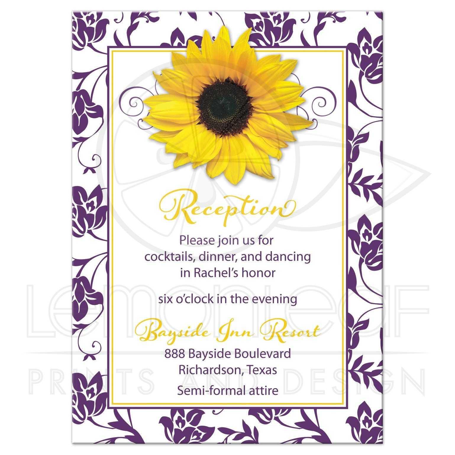 Purple Yellow Sunflower Floral Bat Mitzvah Reception Card