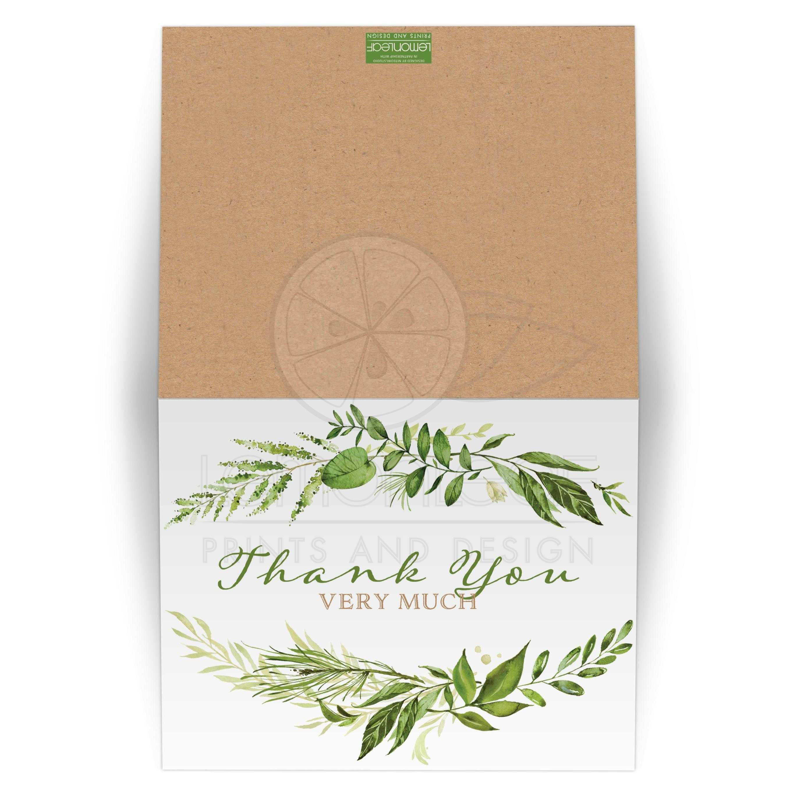 Greenery Wedding Thank You Card With Orted Green Watercolor Foliage Leaves Stems And Boughs
