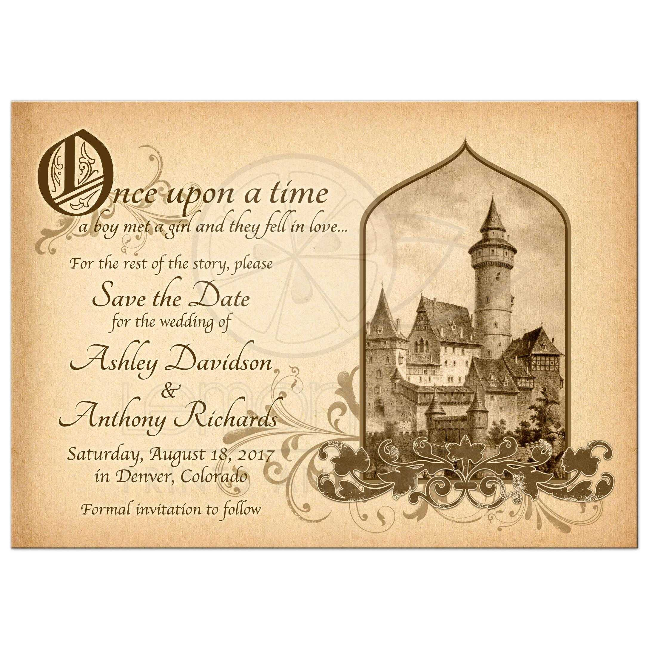 Beautiful Vintage Medieval Castle Fairy Tale Once Upon A Time Wedding Save The Date Announcement Front: Formal Meval Wedding Invitation Wording At Websimilar.org