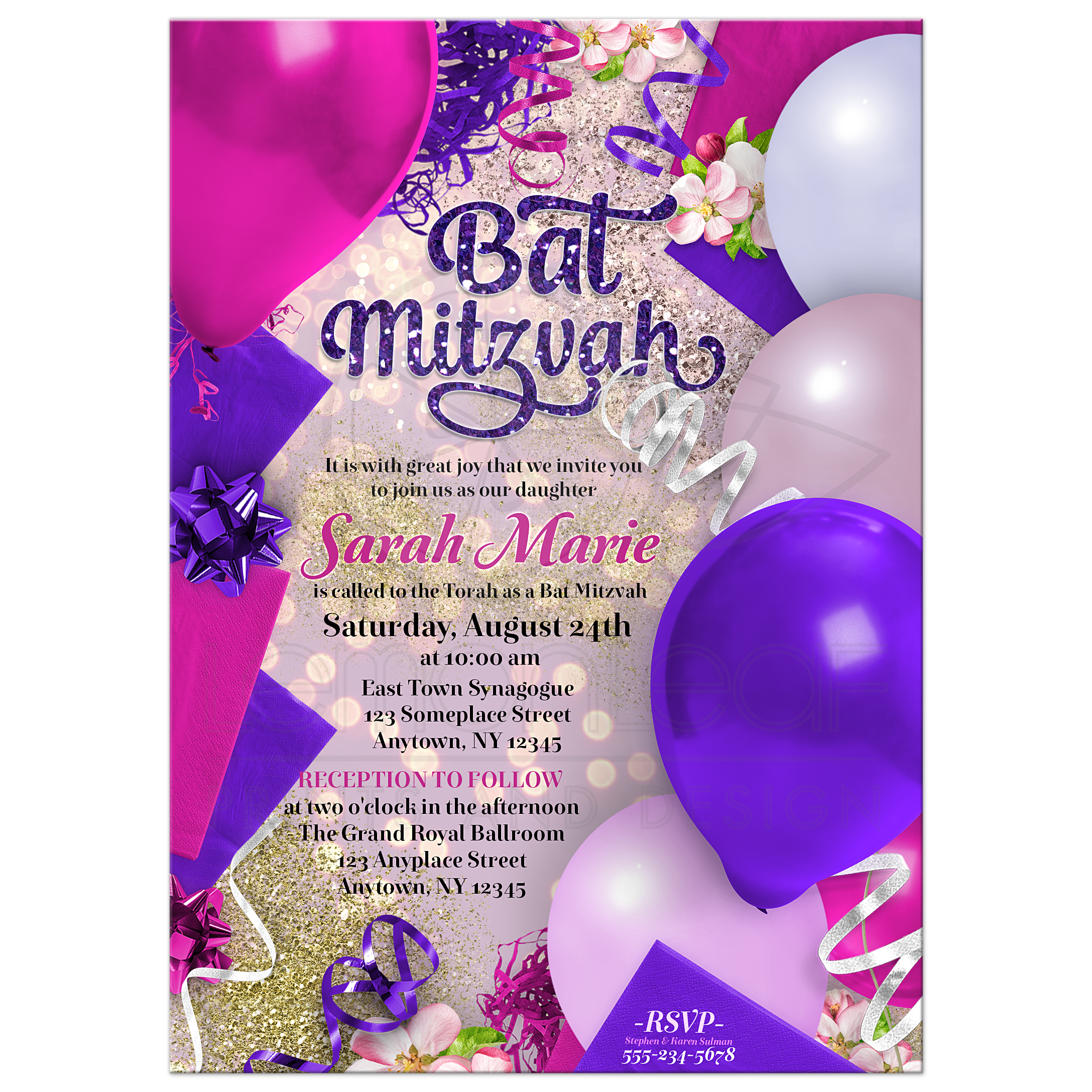 Pink Purple Bat Mitzvah Invitation | Party Balloons