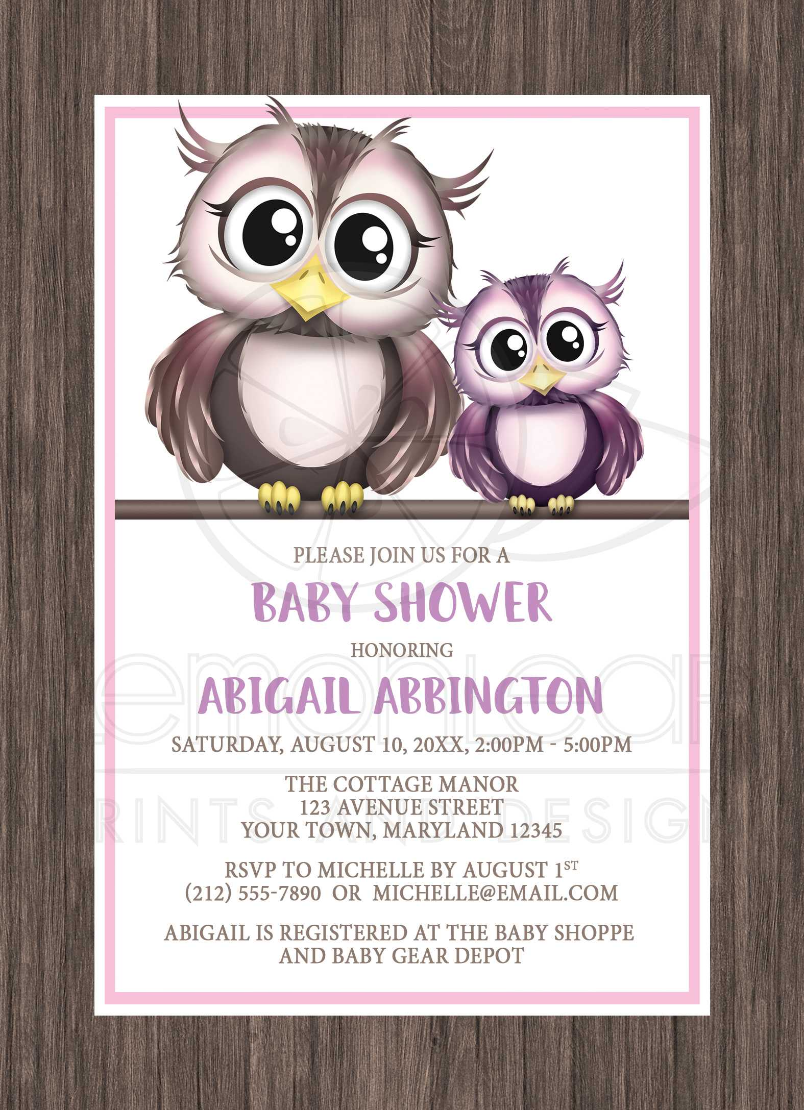 Baby Shower Invitations Owls Pink And Purple With Rustic Wood