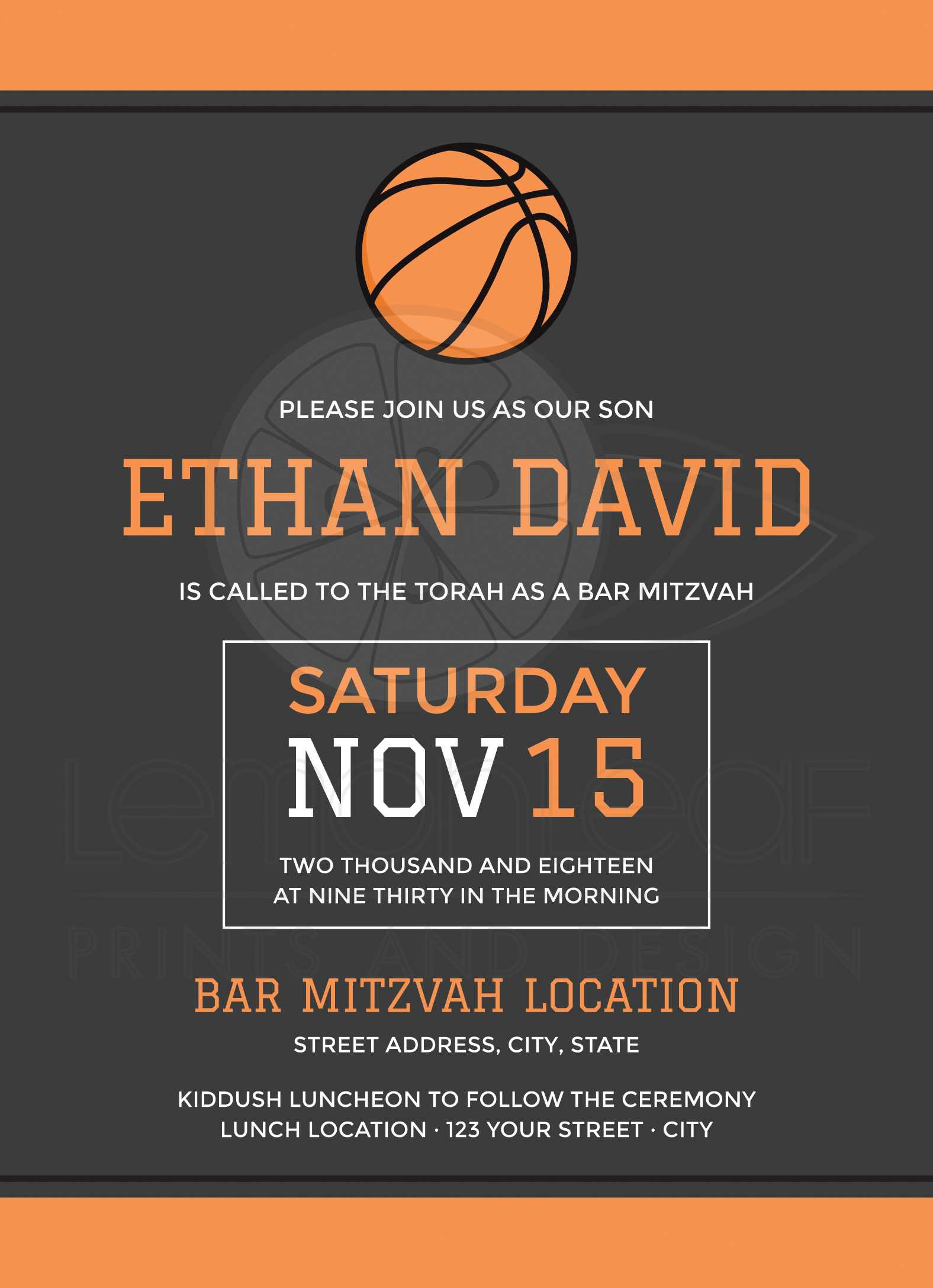 Basketball bar mitzvah invitations modern design with ball and