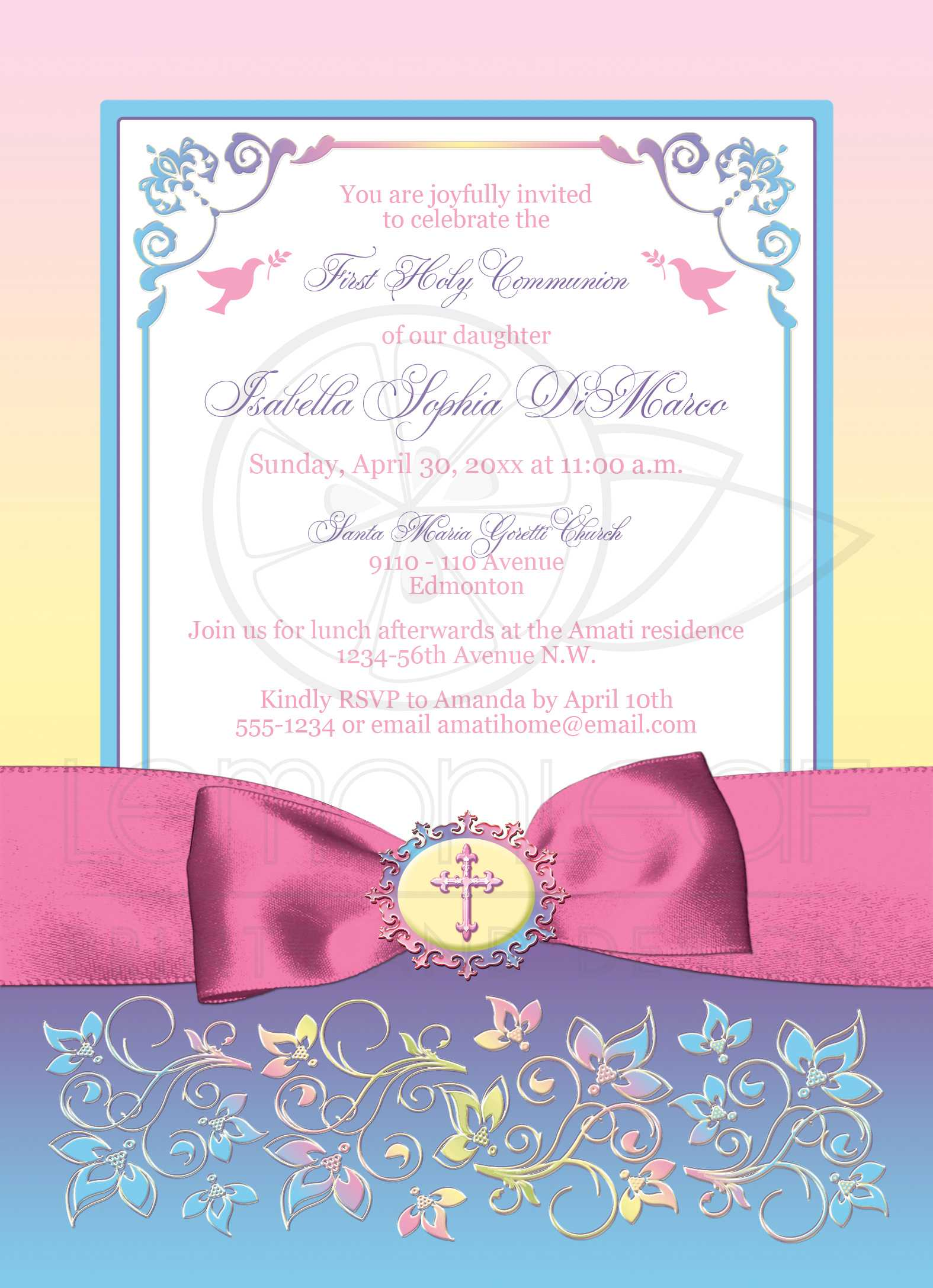 Pretty pastels first holy communion invite printed ribbon bow pretty pastels first holy communion invite printed ribbon bow flowers kristyandbryce Choice Image