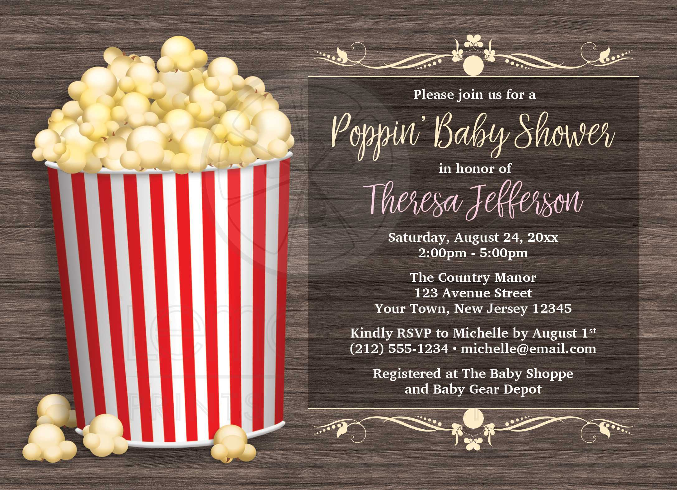 Baby shower invitations popcorn theme rustic wood filmwisefo